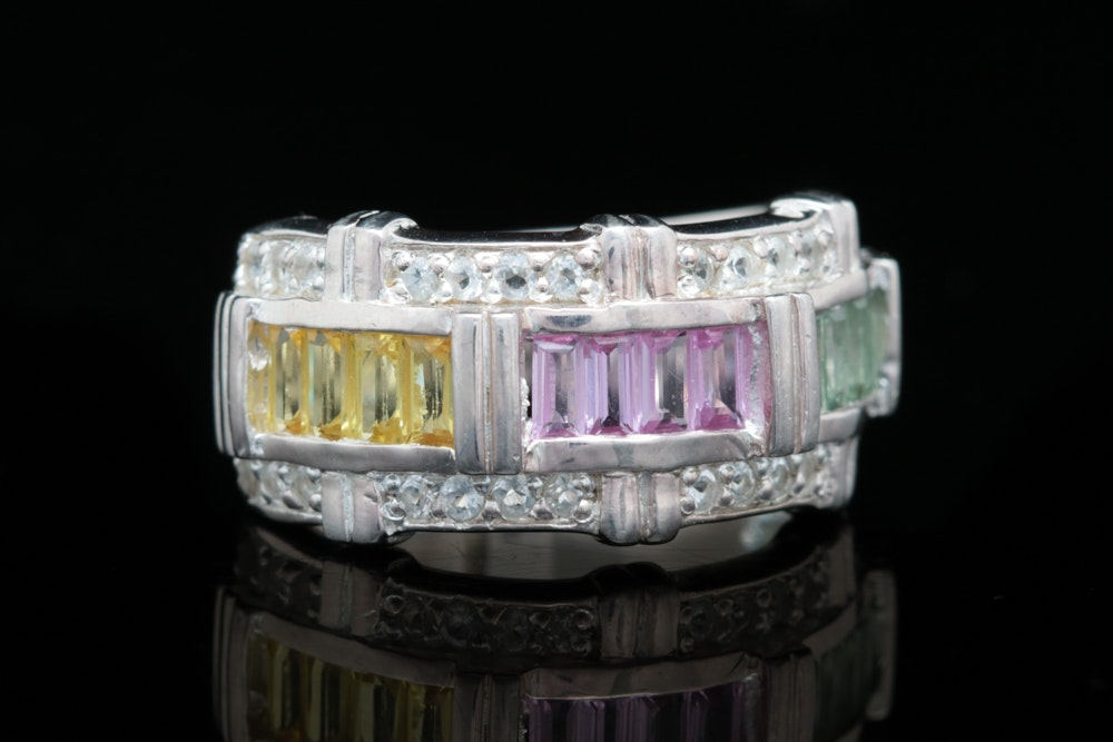 Sterling Silver, Pink, Yellow, Green Sapphire and White Topaz Ring