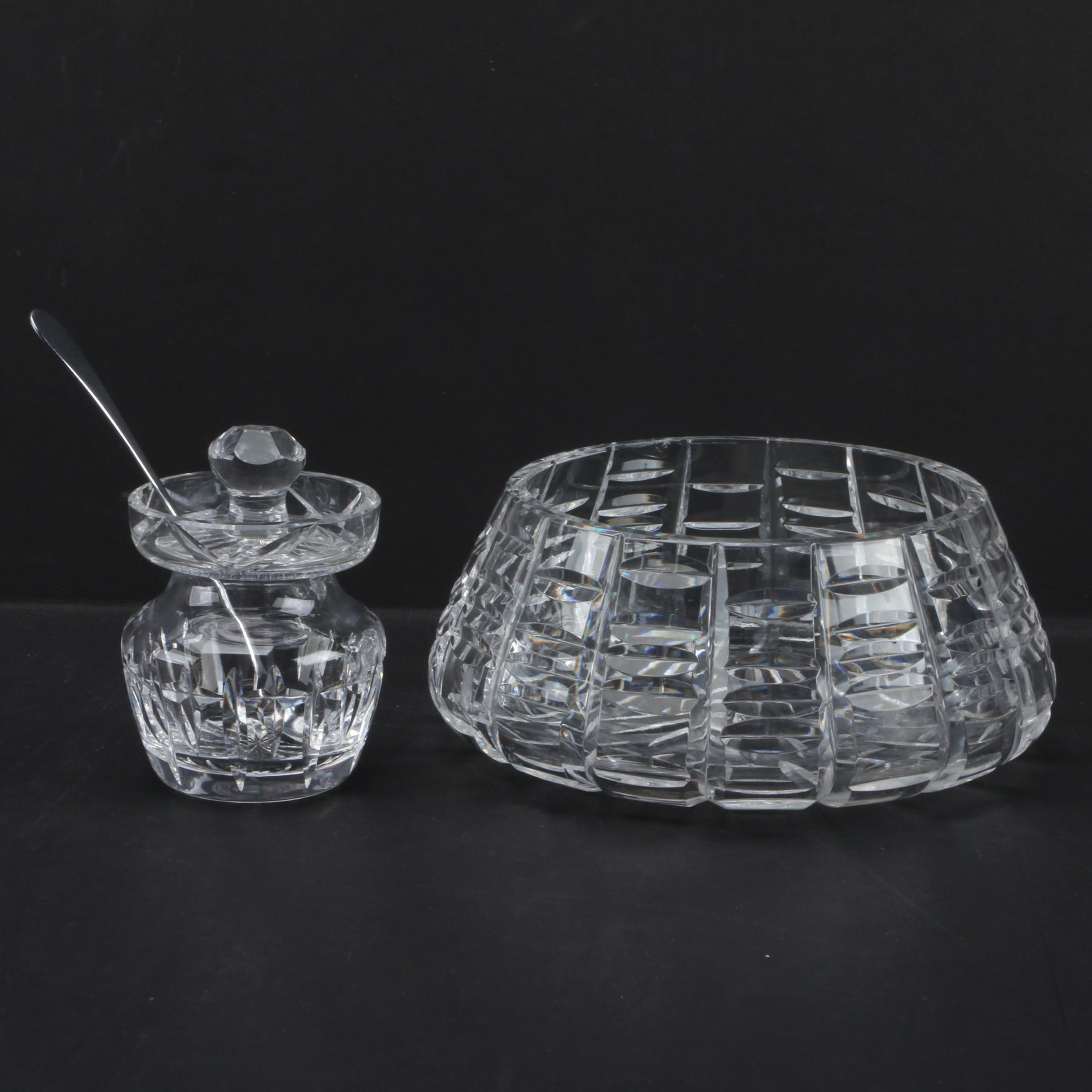"Waterford Crystal ""Tralee"" Bowl and Condiment Jar"