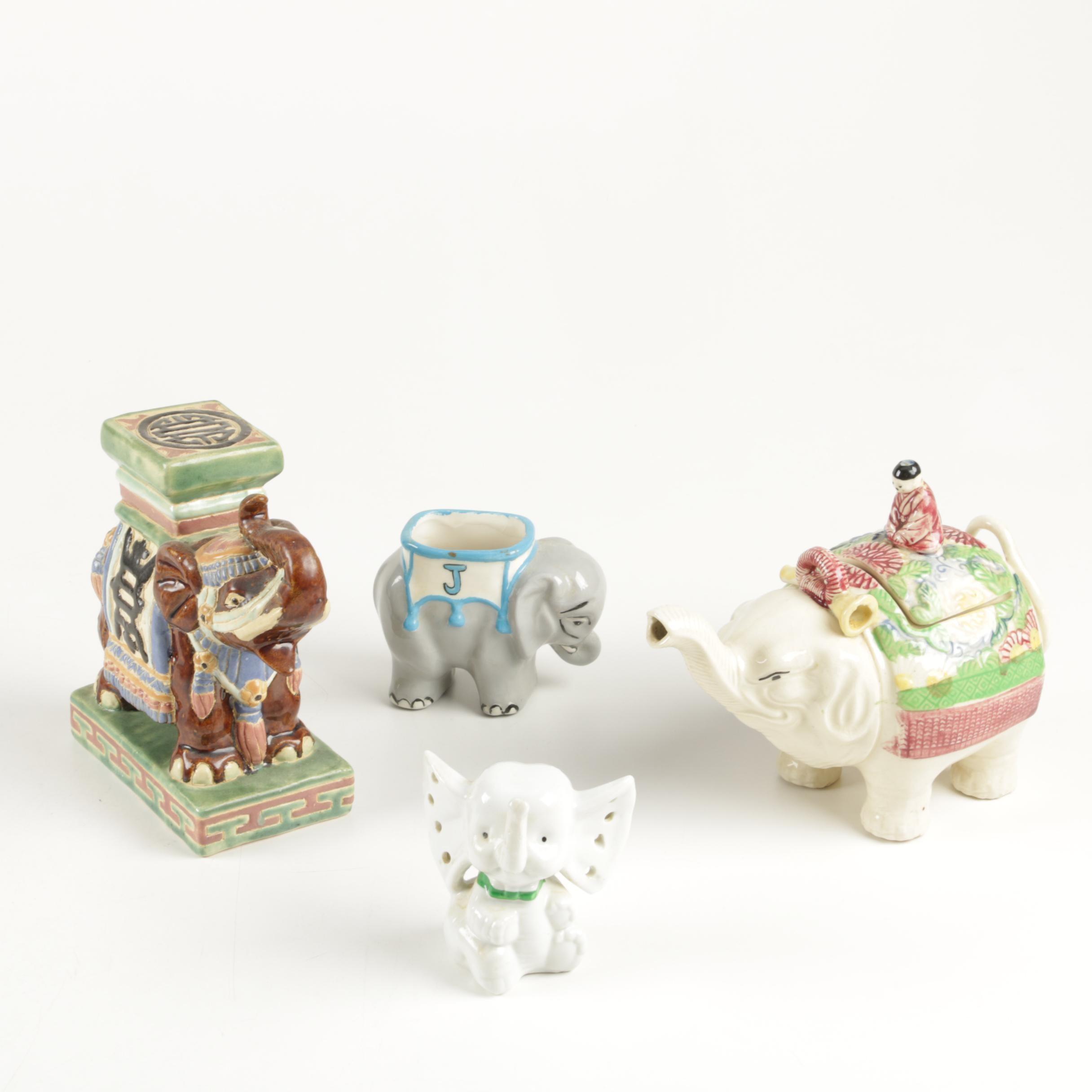 Vintage Elephant Themed Ceramic Assortment