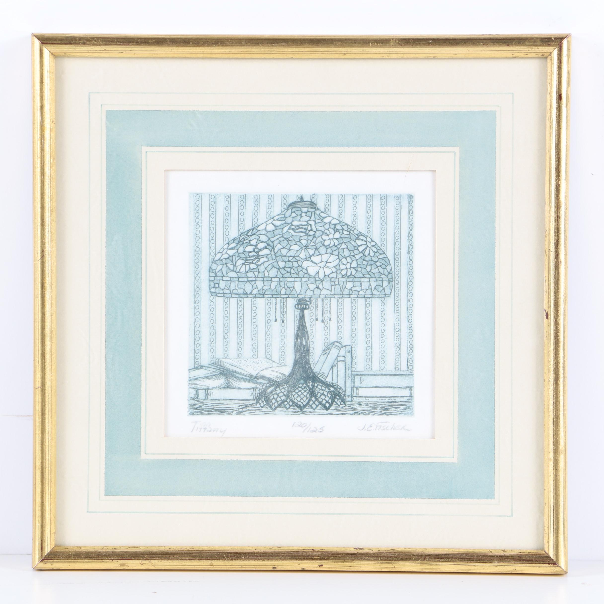 """J.E. Fischer Limited Edition Still Life Etching on Paper """"Tiffany"""""""