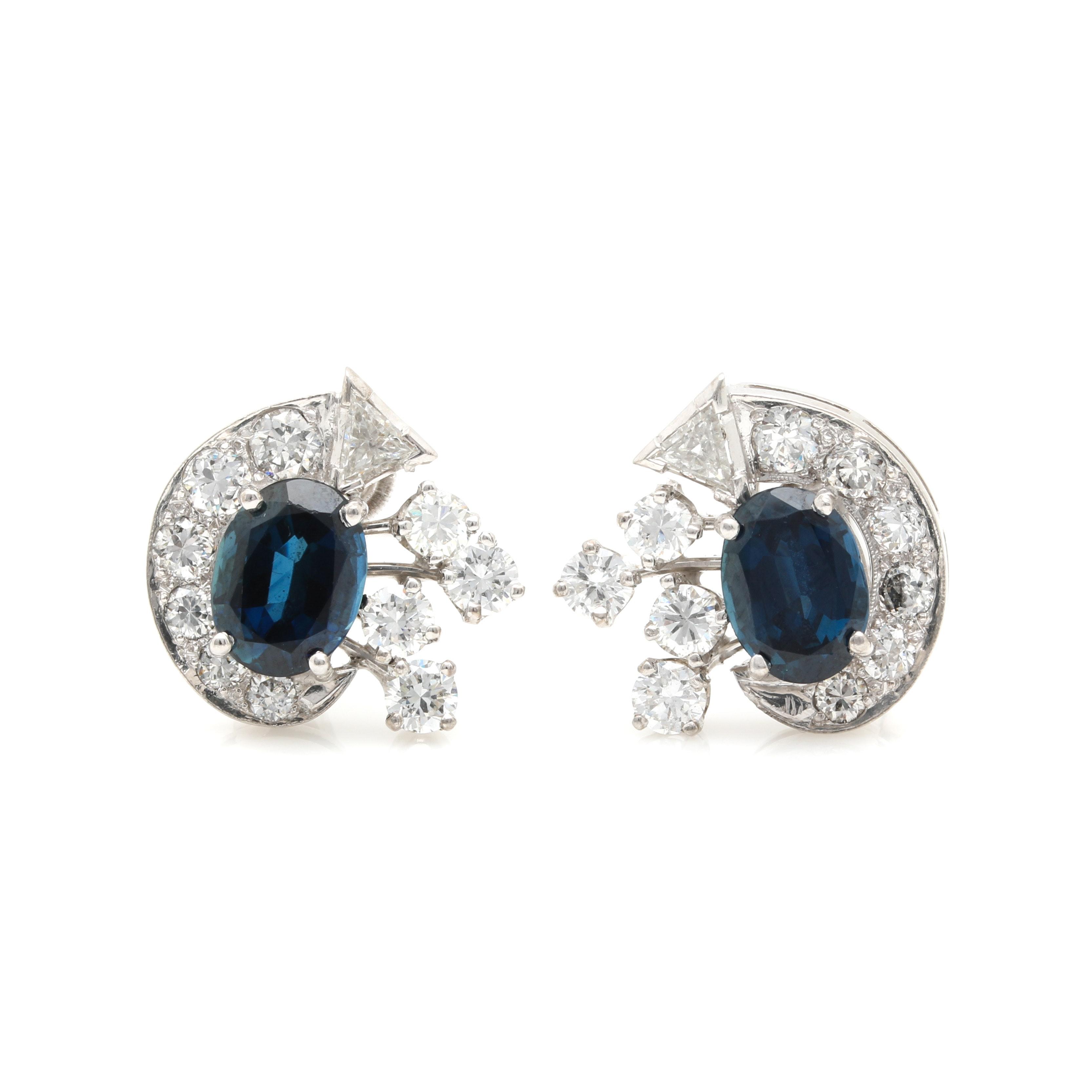 Platinum 5.00 CTW Sapphire and 2.48 CTW Diamond Earrings