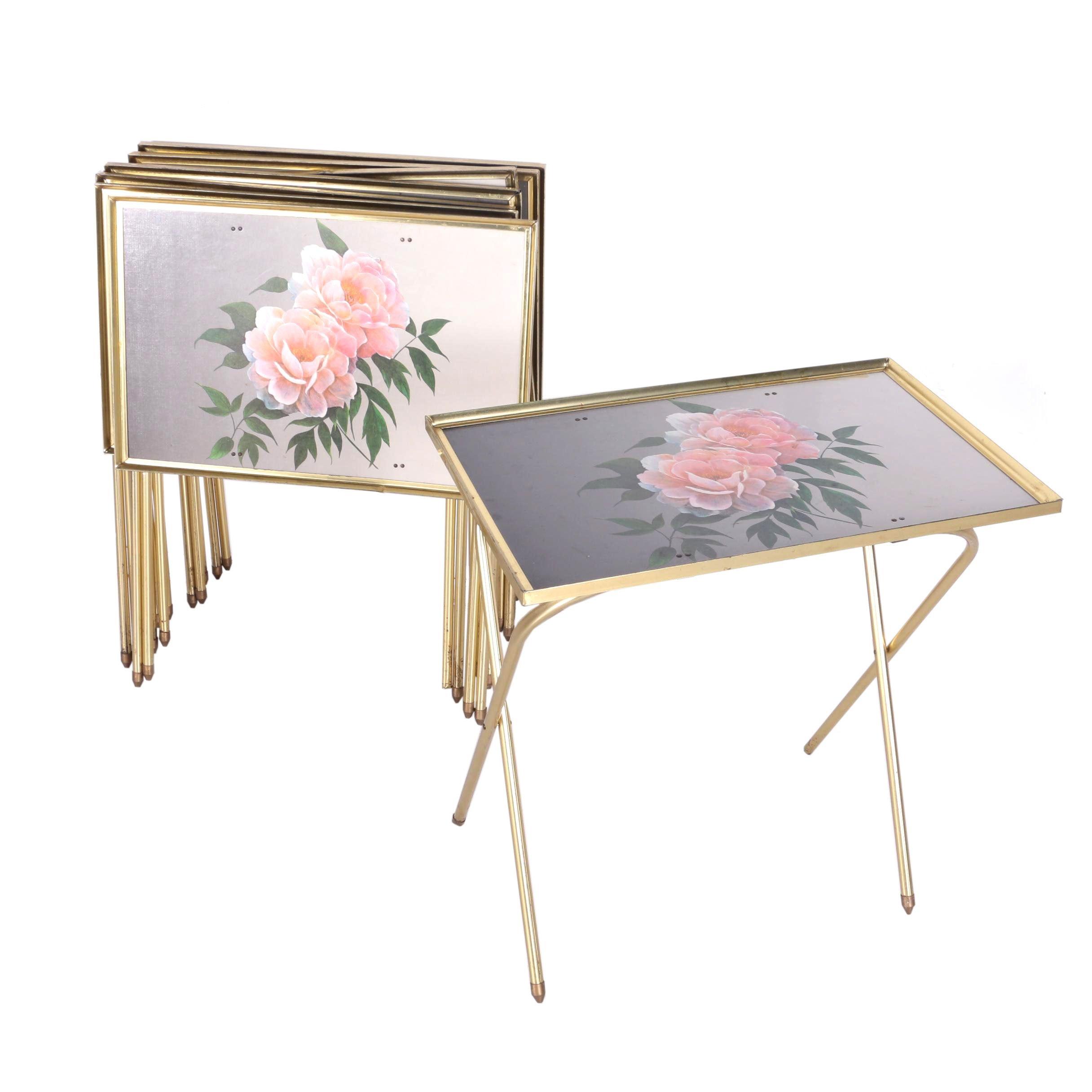 Rose Motif Metal Framed Tray Tables