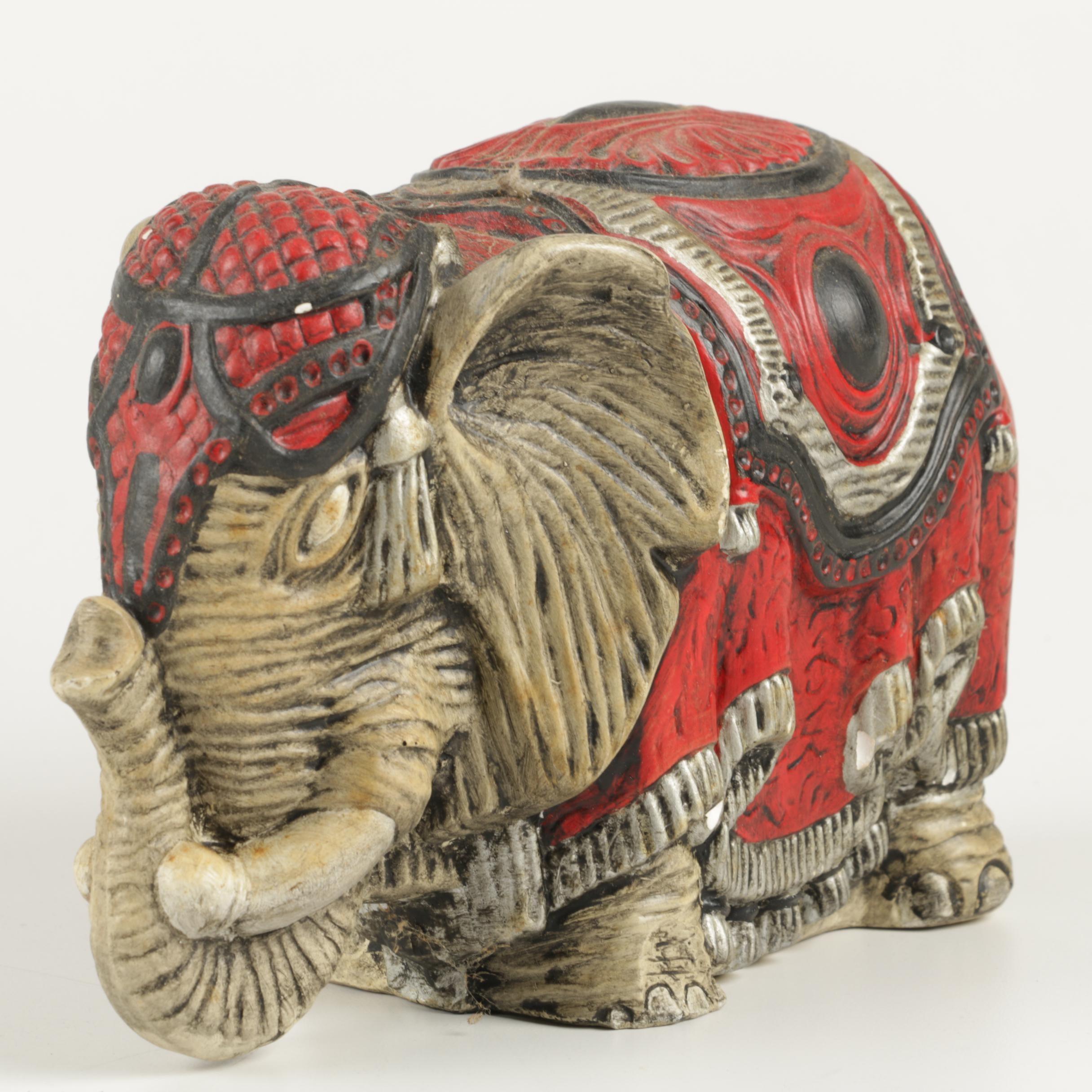 Plaster Elephant Figurine