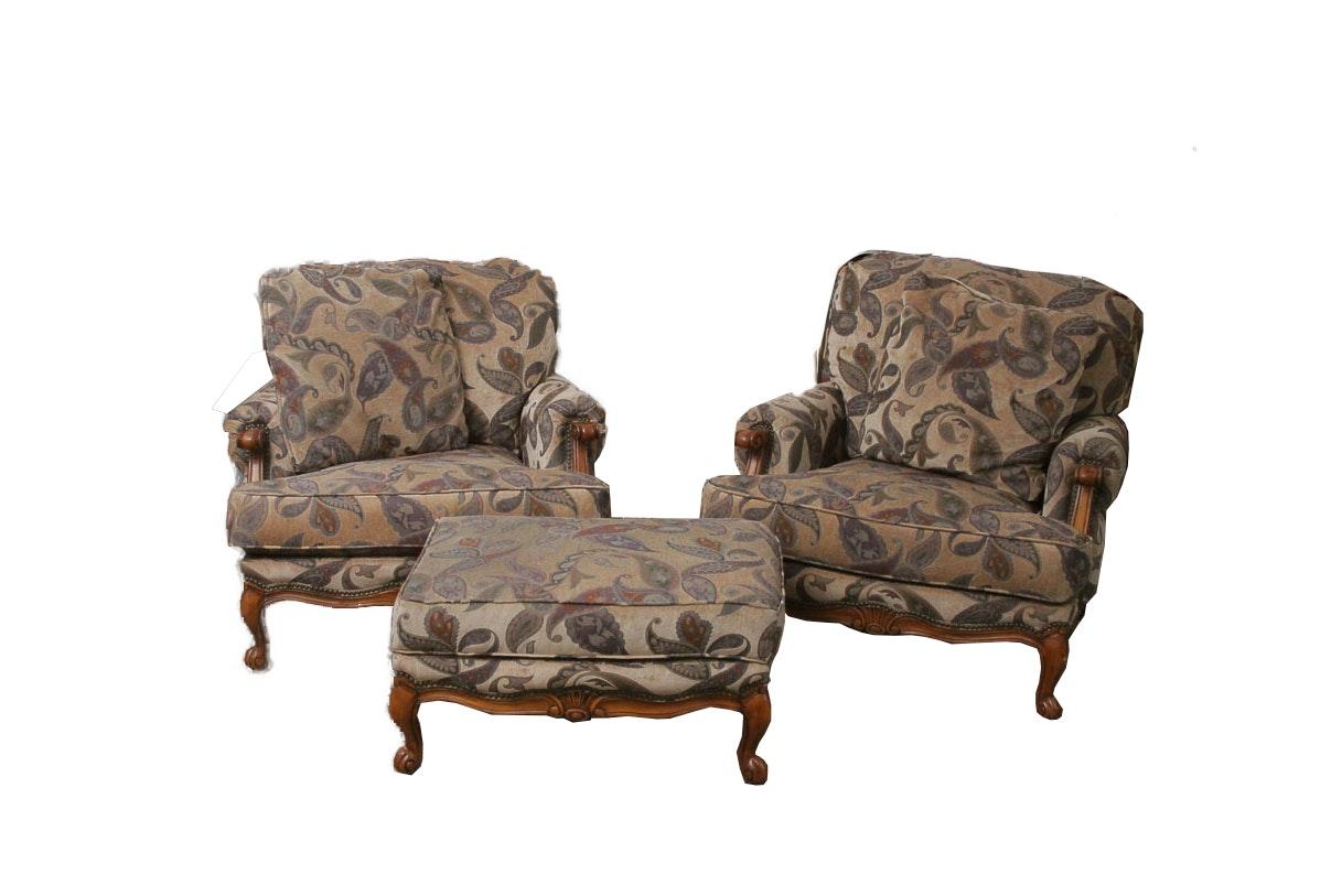 Michael Handler Arm Chairs and Ottoman