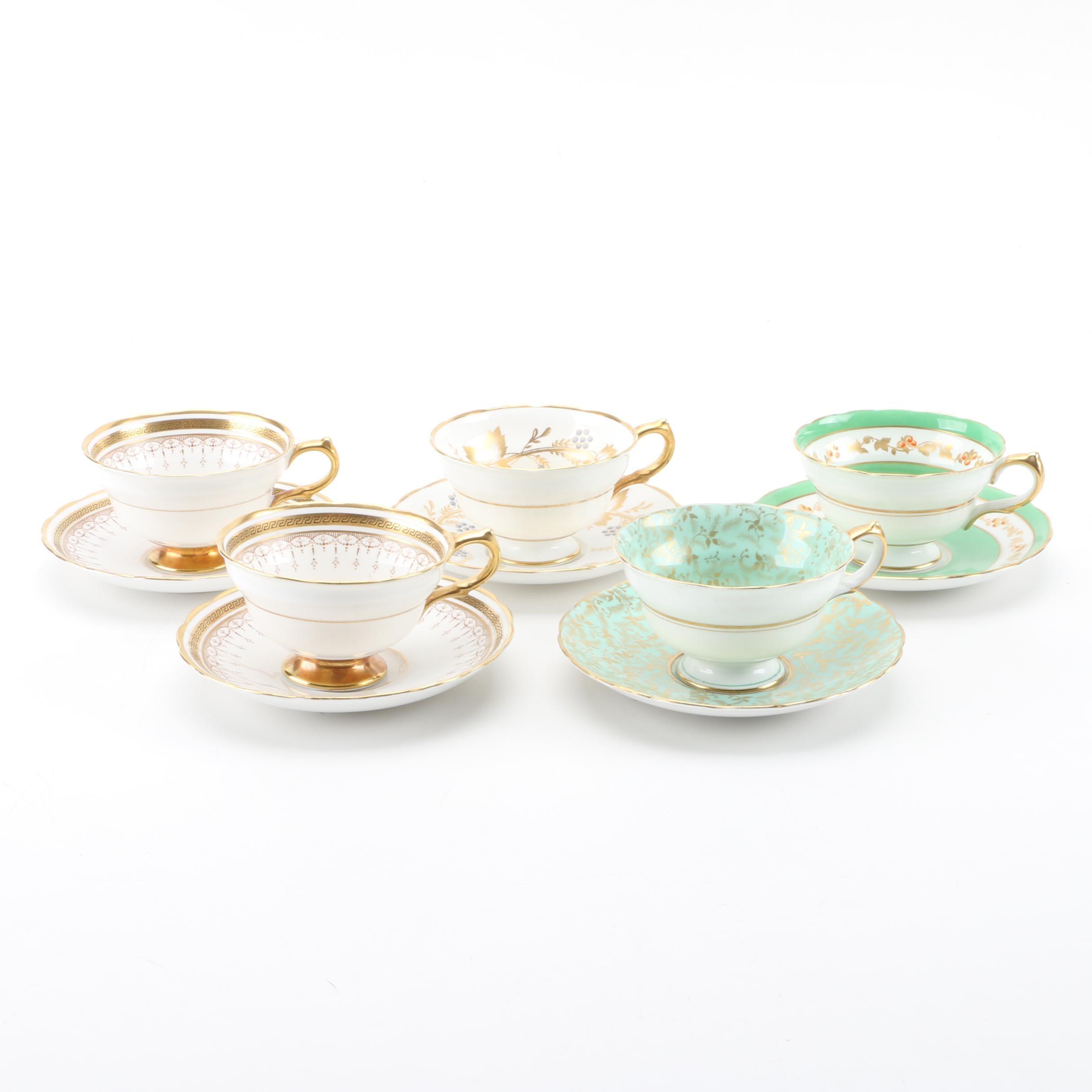 C. 1950s Grosvenor China Porcelain Teacups and Saucers