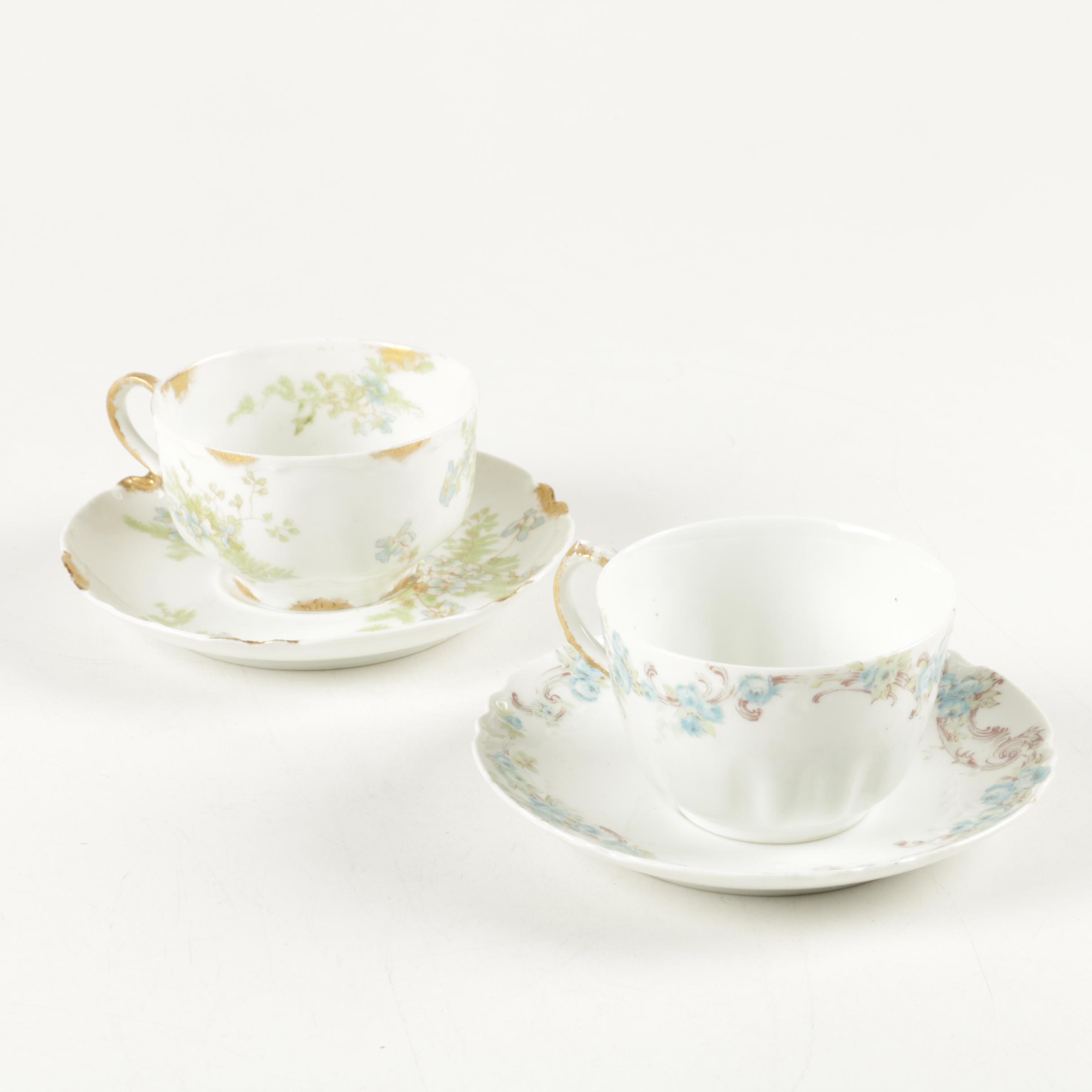Haviland Limoges Porcelain Teacups and Saucers