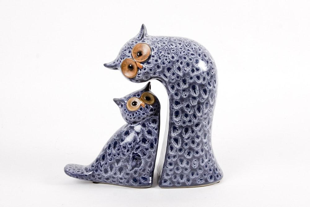 Mid Century Modern Style Ceramic Owls