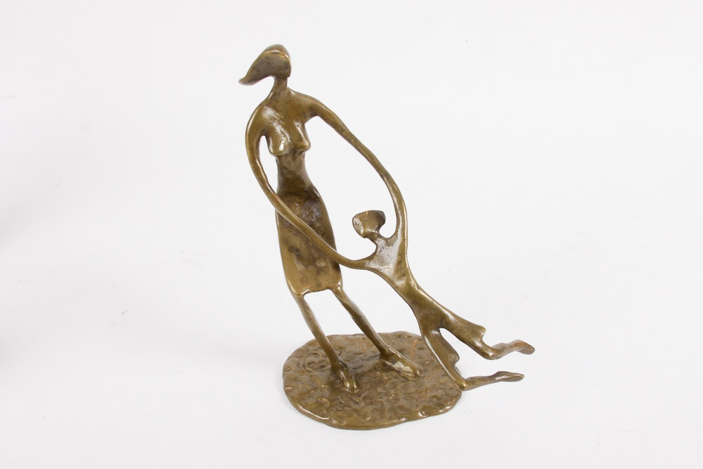 Brass Sculpture of a Mother and Child
