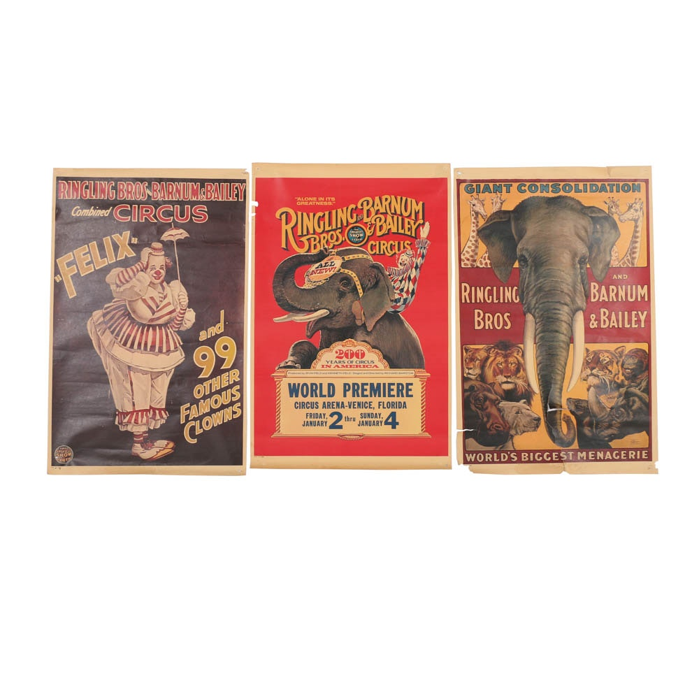 1933 - 1976 Ringling Bros. and Barnum & Bailey Circus Offset Lithograph Posters