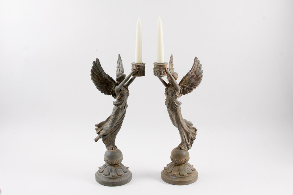 French Empire Style Nike Candle Holders