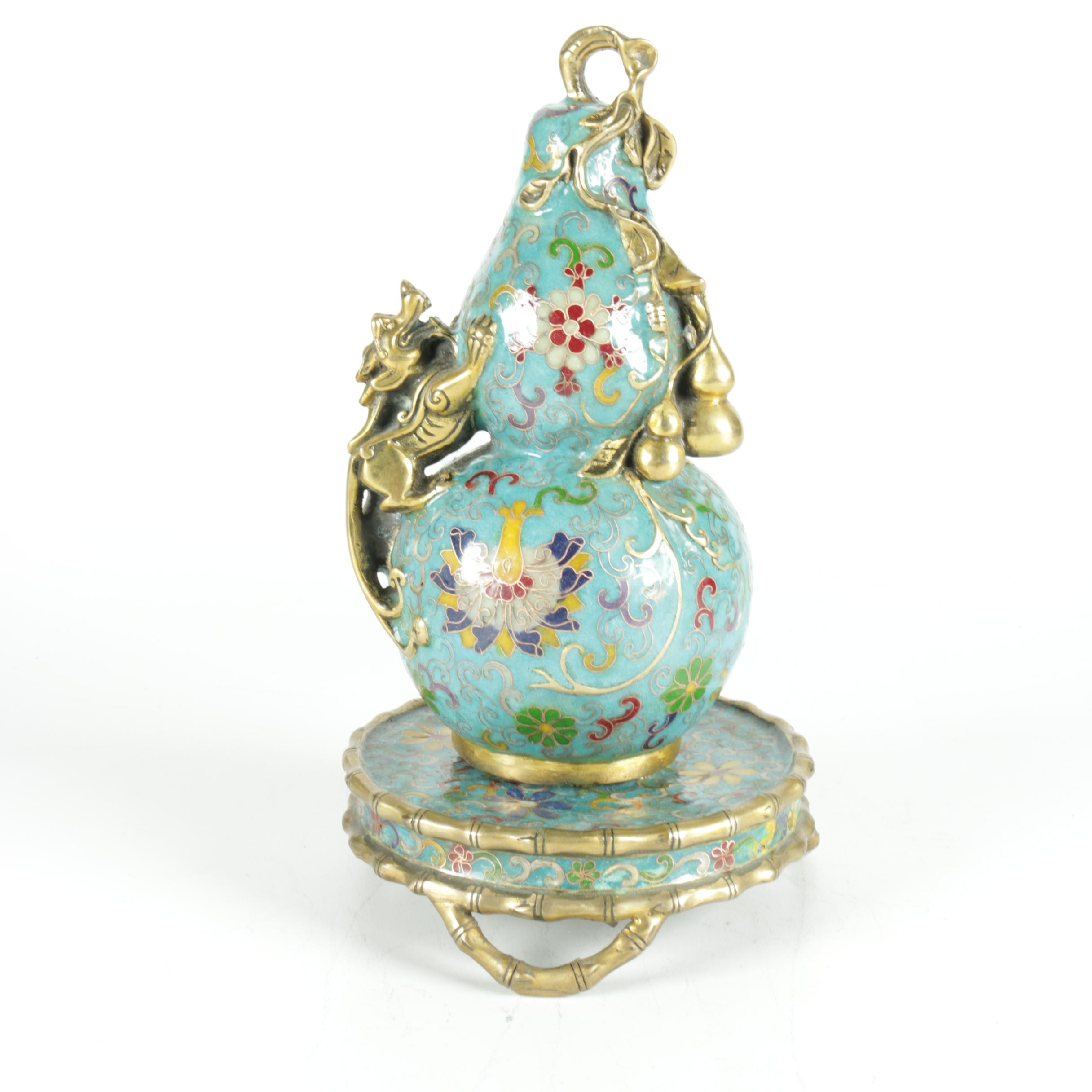 Chinese Hand-Painted Cloisonne Centerpiece