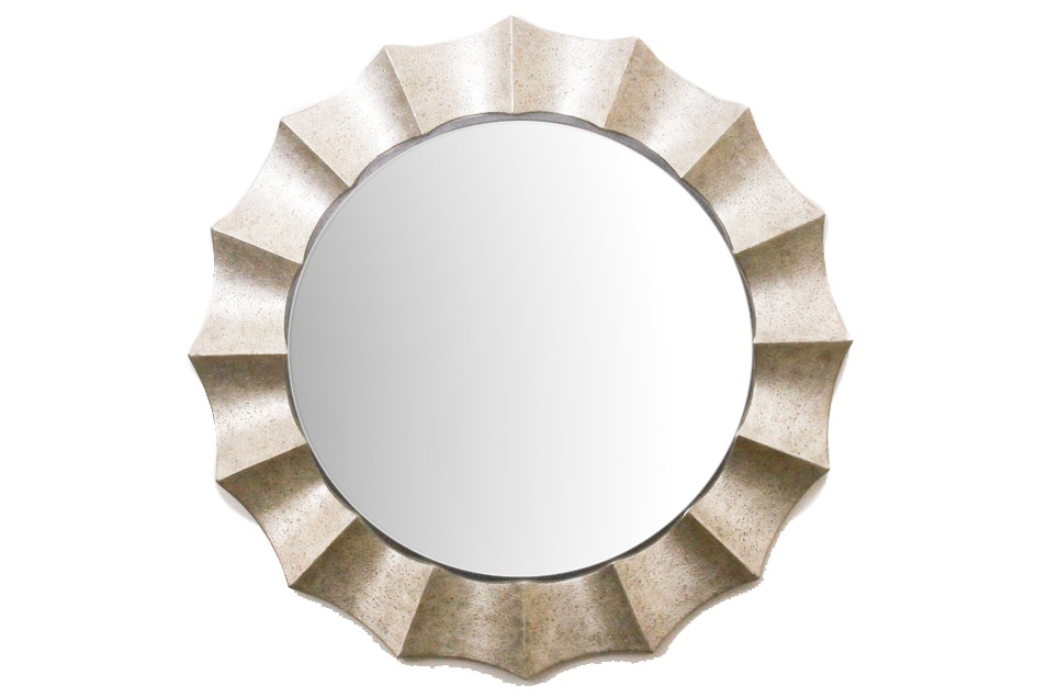 Large Contemporary Round Scalloped Framed Mirror