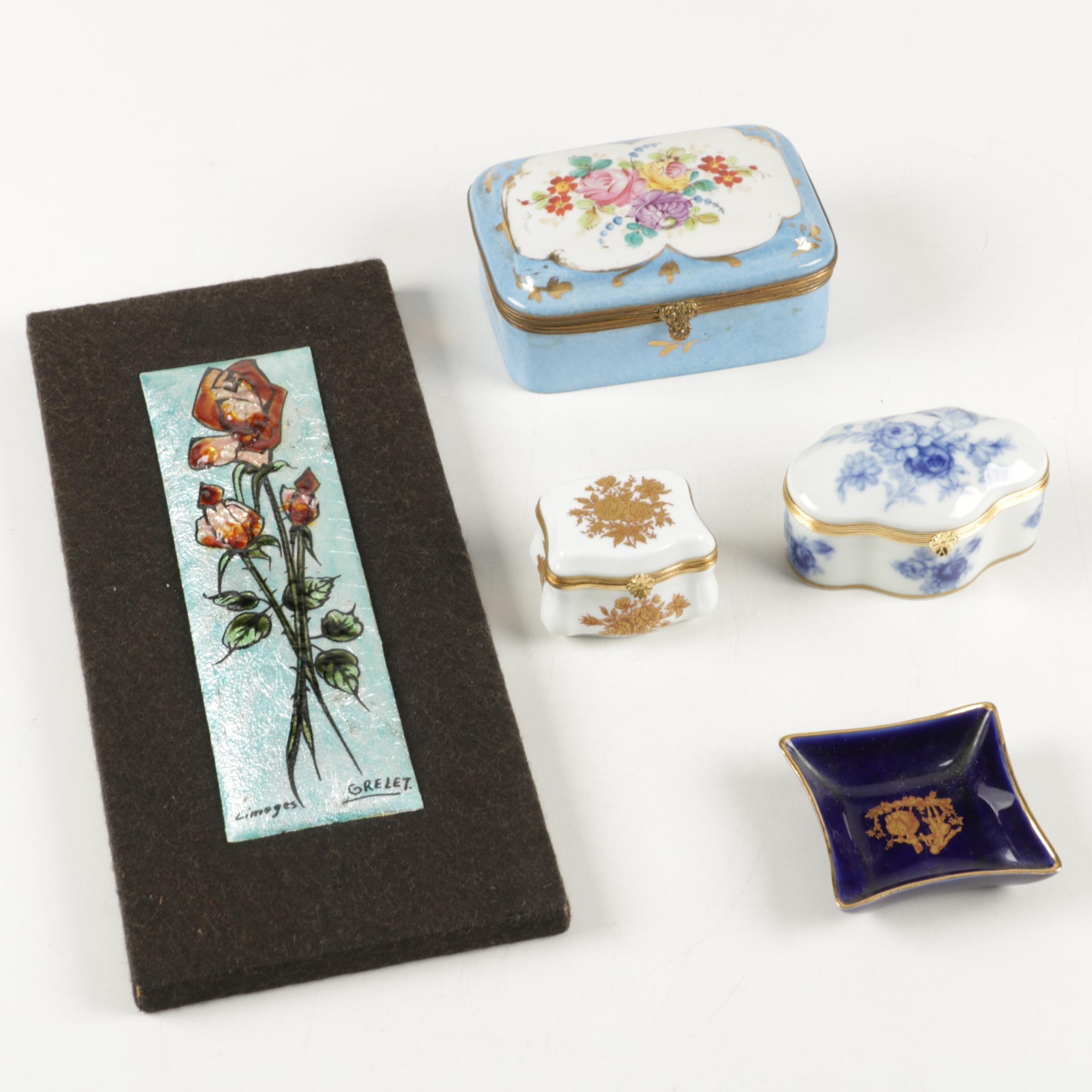 Vintage Porcelain Limoges Trinket Boxes, Tray and Other Decor