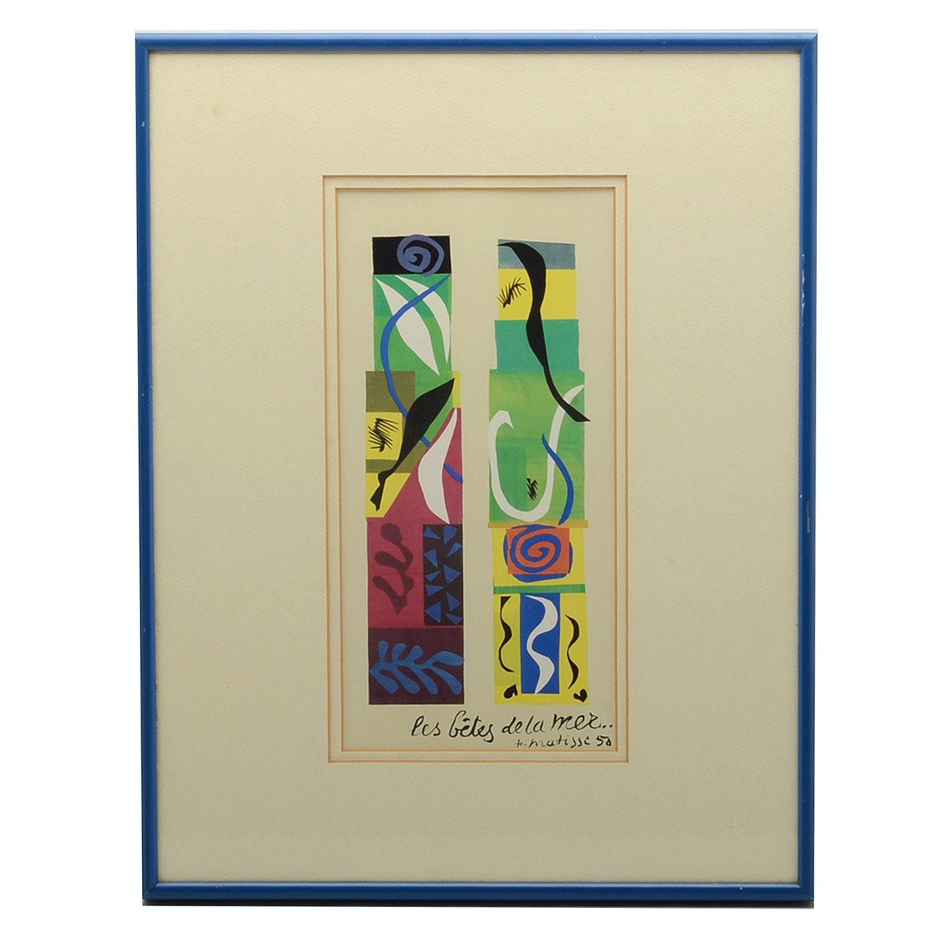 """Offset Lithograph after Matisse """"Les Bétes de la Mer"""""""