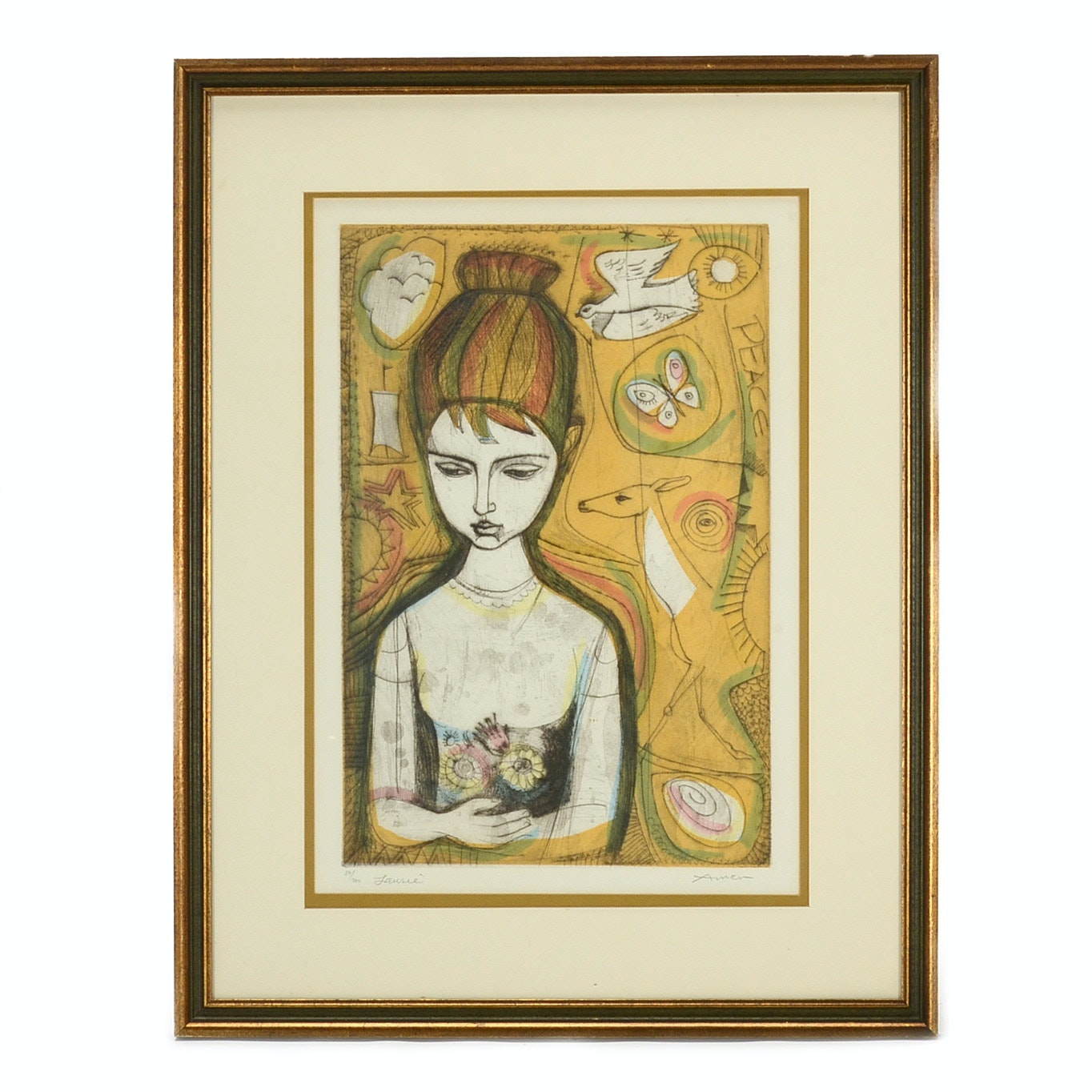 """Irving Amen Signed Limited Edition Aquatint Etching """"Laurie"""""""