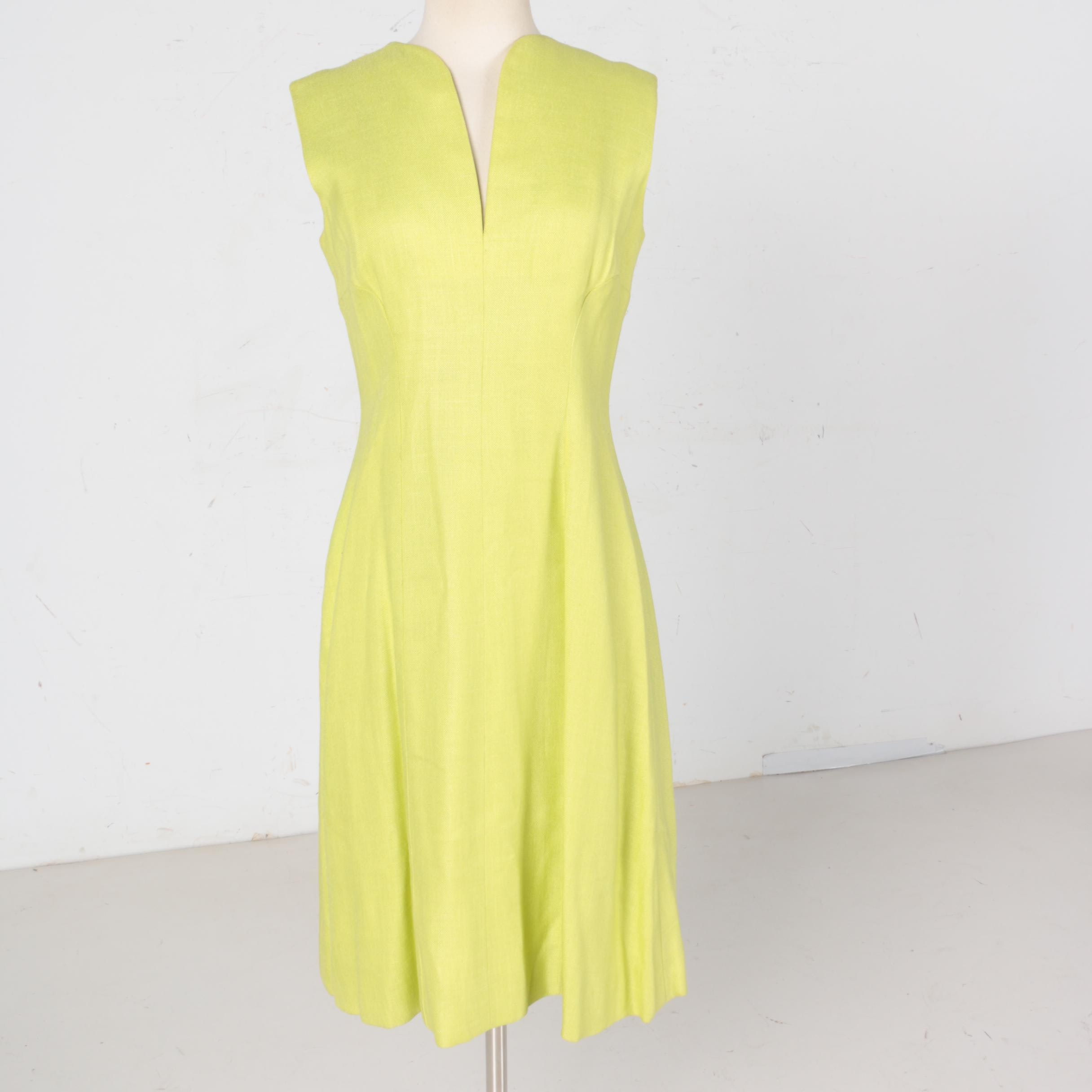 1960s Vintage Pauline Trigere Green Sleeveless Dress