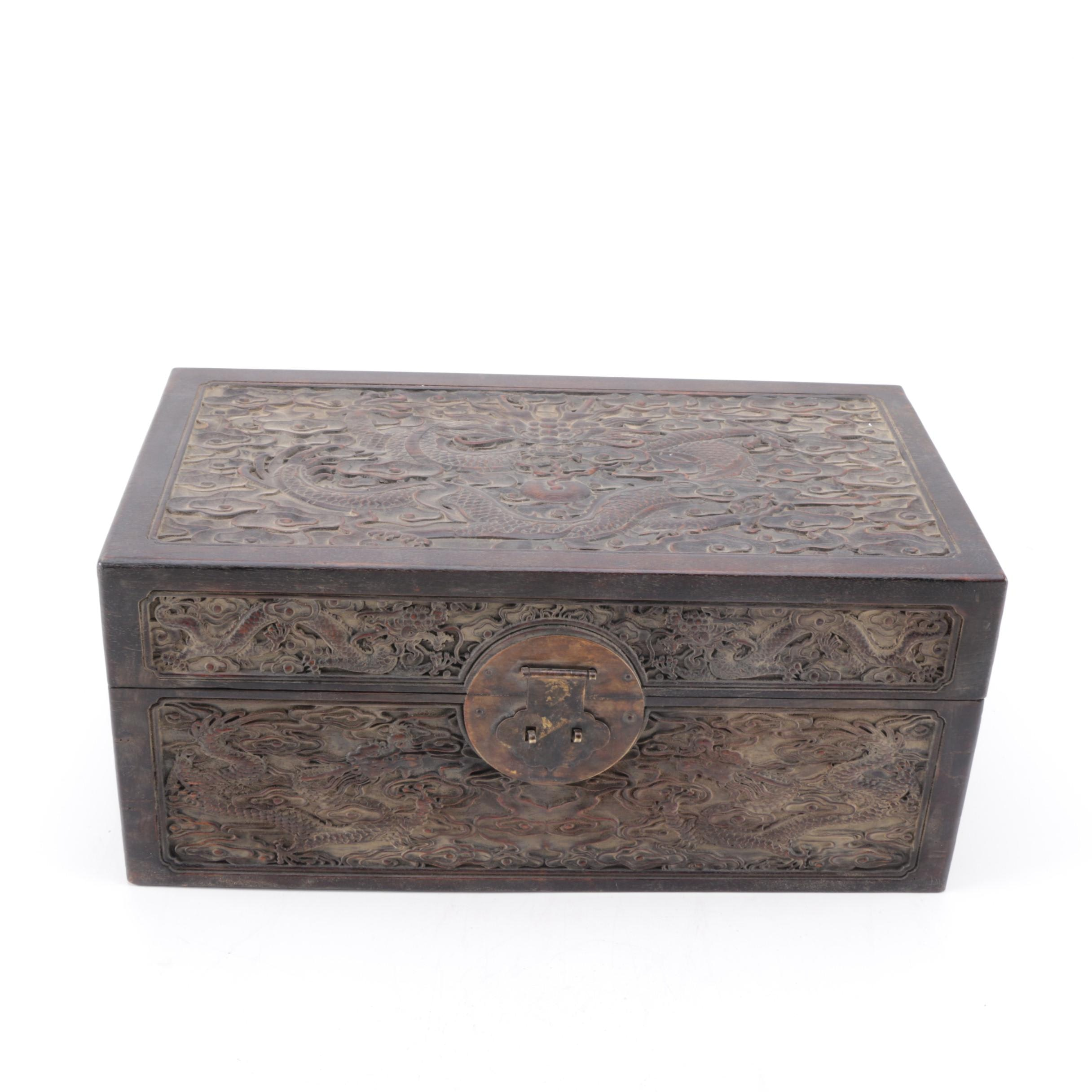 Chinese Chest with Intricate Dragon Motif