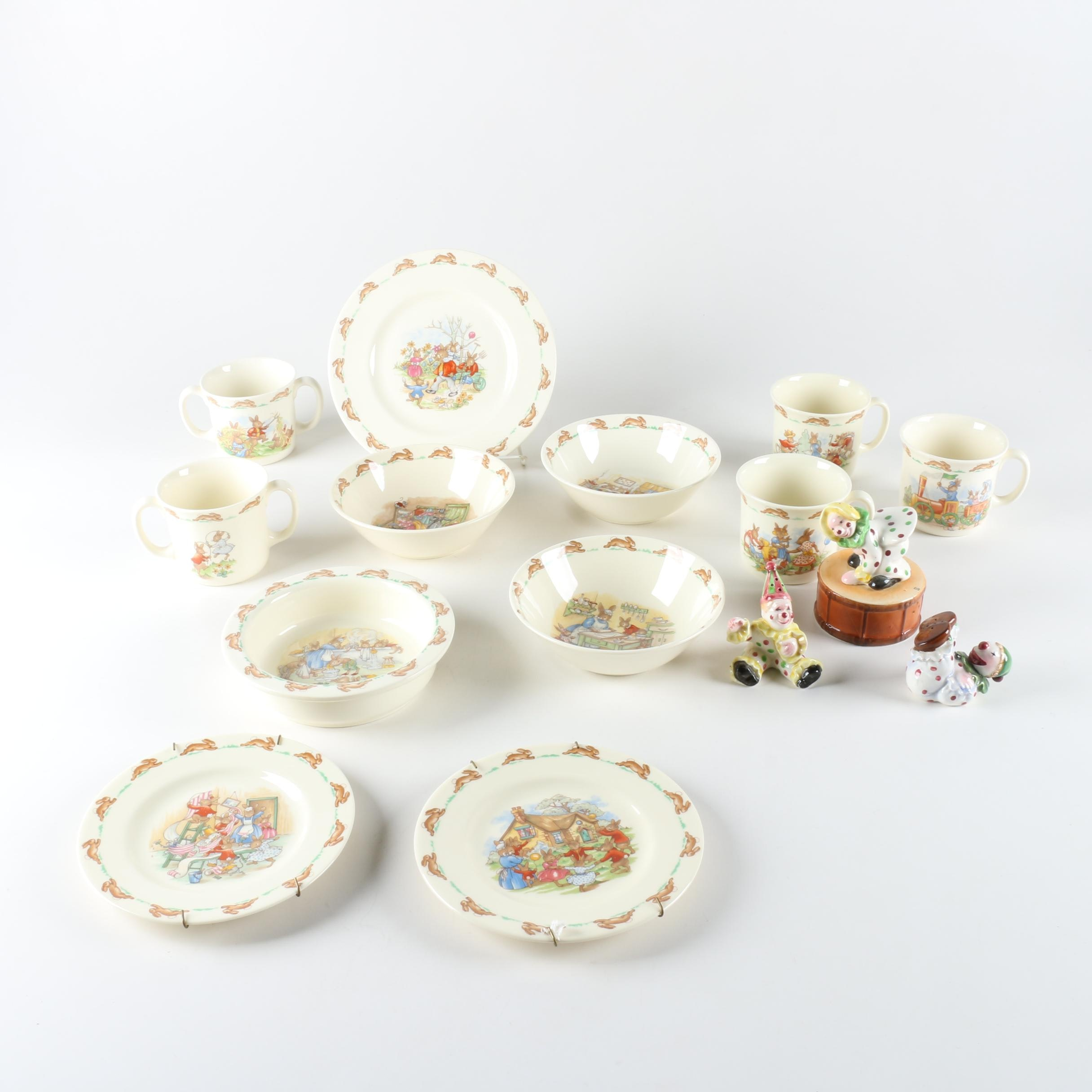 "Vintage Royal Doulton ""Bunnykins"" Porcelain Tableware with Circus Shakers"