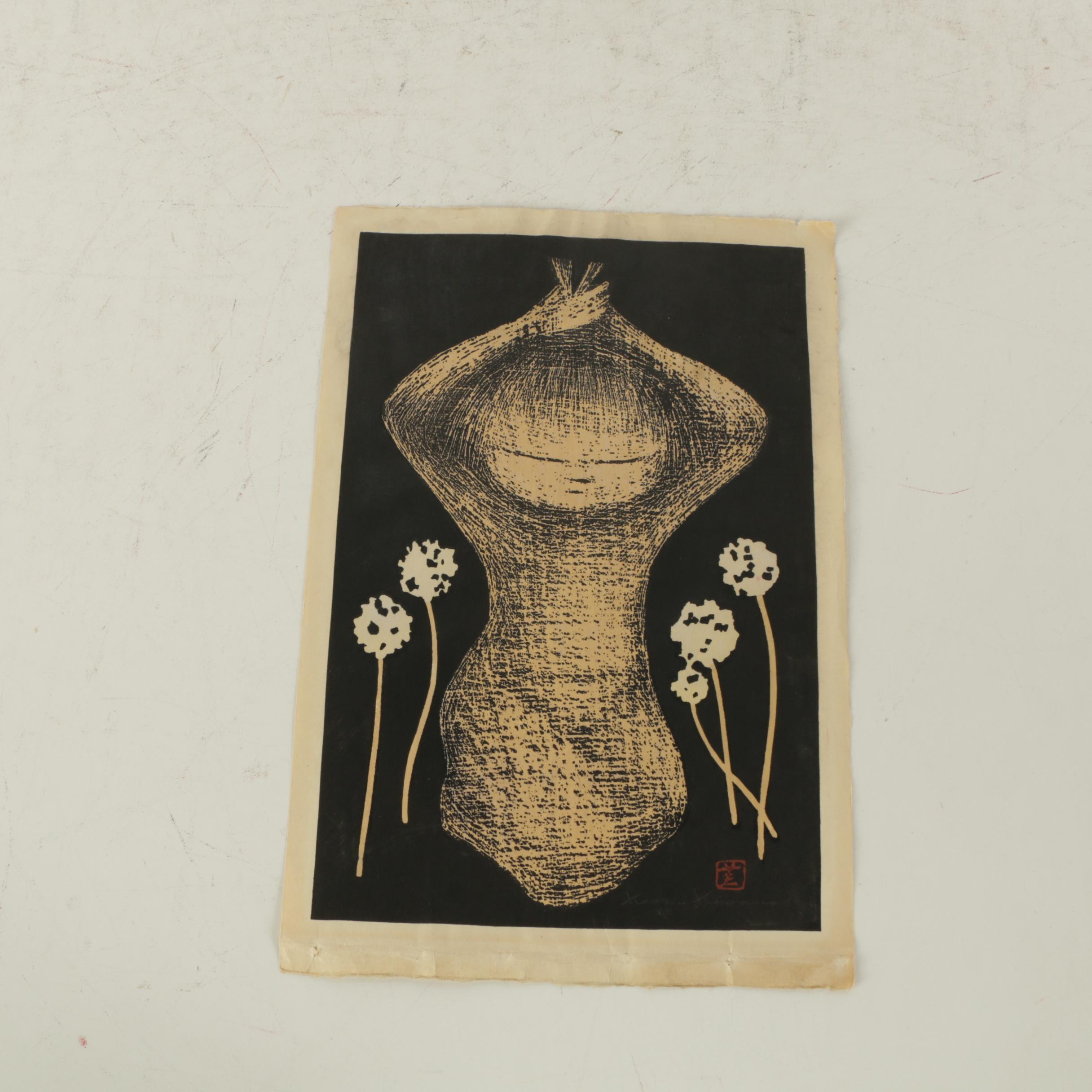 Kaoru Kawano Woodblock Print of Girl With Flowers