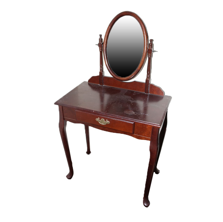 Queen Anne Style Vanity with Stool