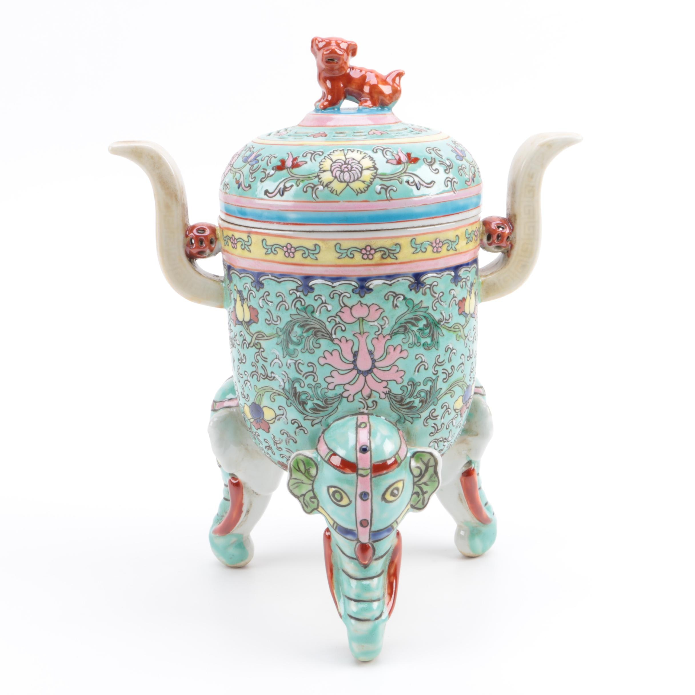 Chinese Porcelain Censor with Elephant Head Feet
