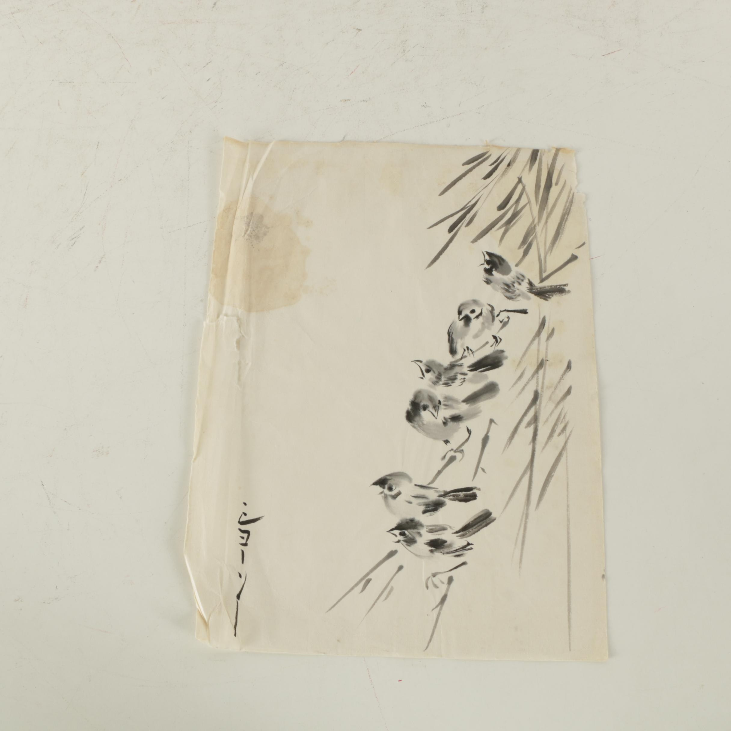 East Asian Style Ink Painting on Rice Paper of Birds