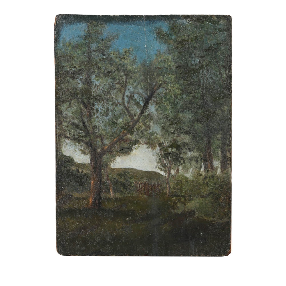 Oil Painting on Wooden Board of Forest
