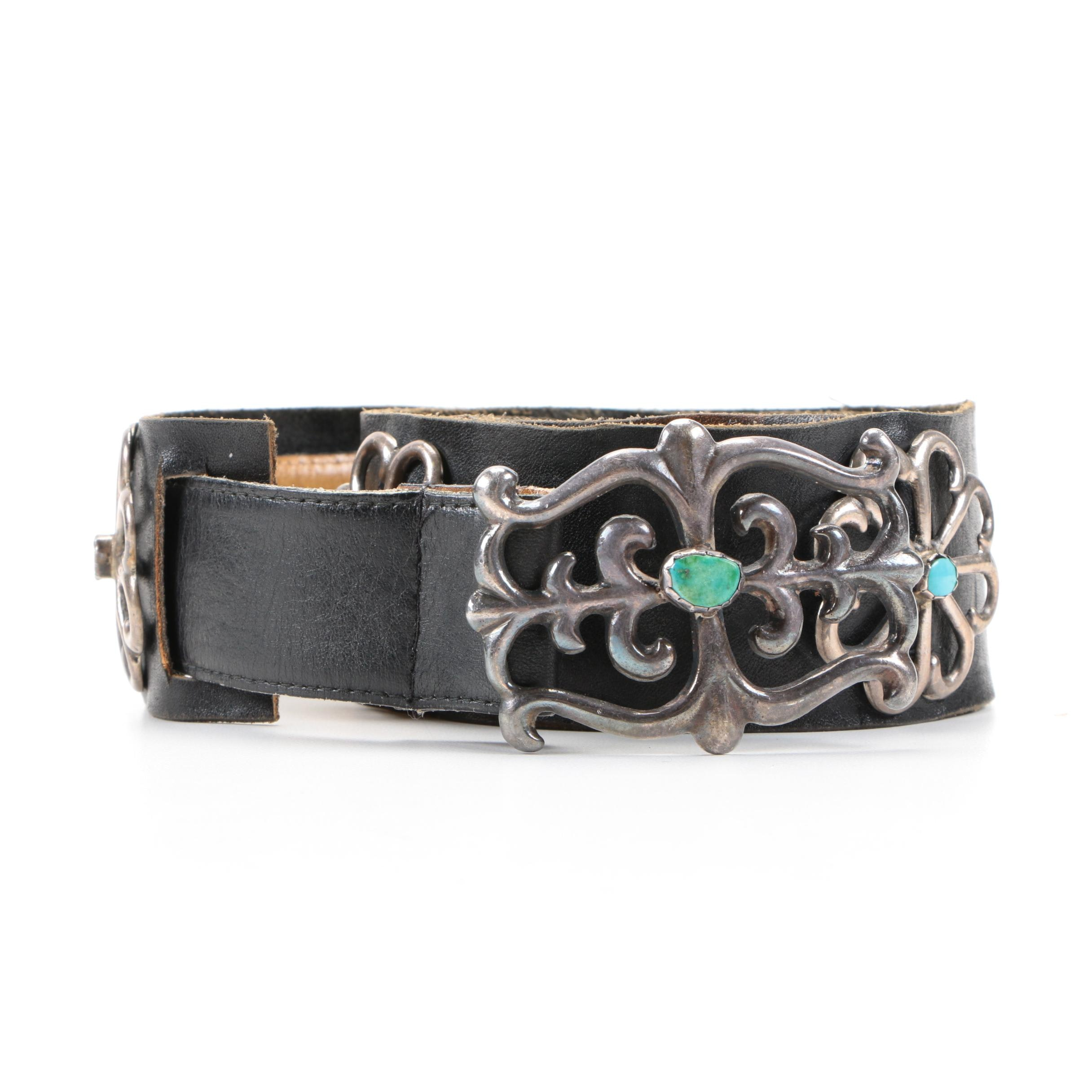 Southwestern Style Sterling Silver and Turquoise Concho Belt