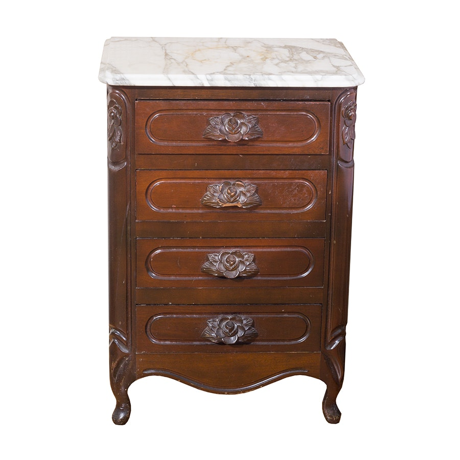 Victorian Style Rose-Carved Cherry Nightstand With Marble