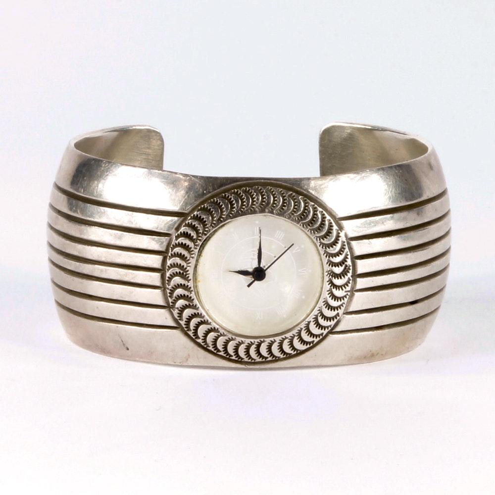 Wilbert Benally Navajo Sterling Wristwatch Bangle Bracelet