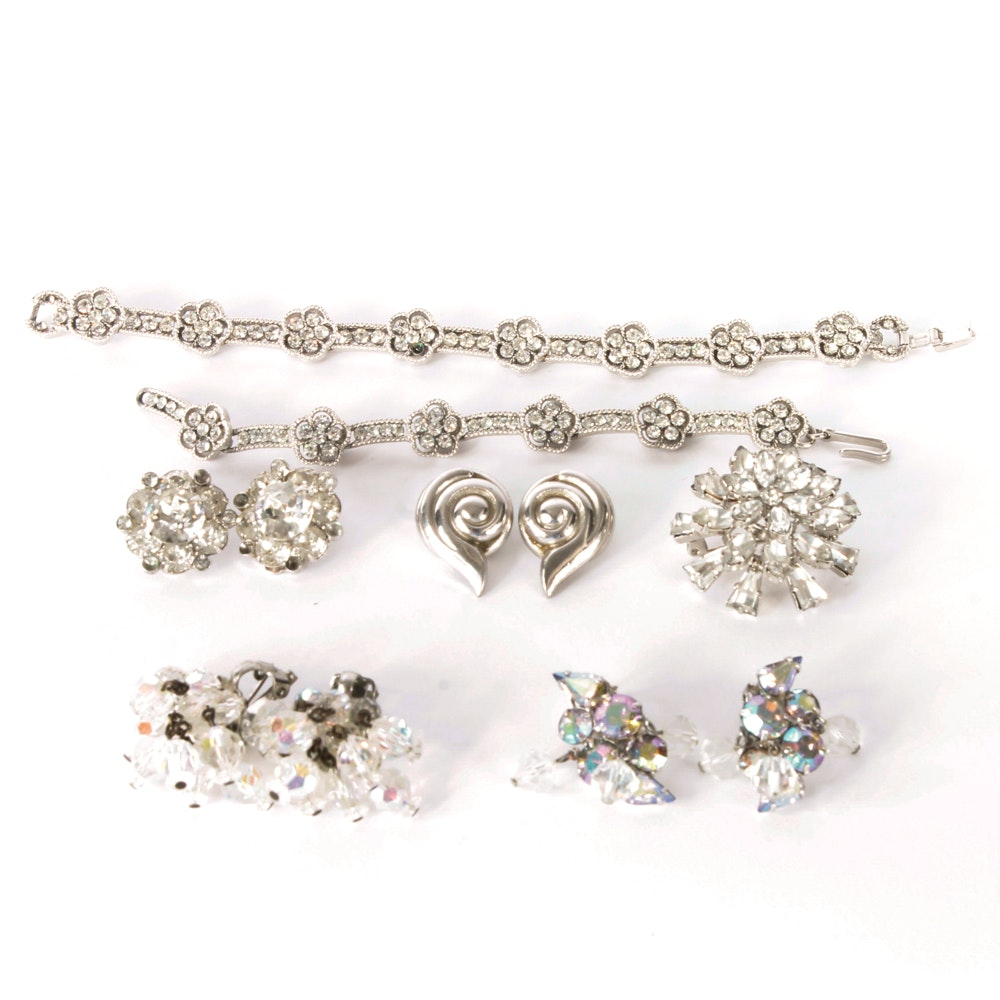 Collection of Vintage Silver Tone Costume Jewelry