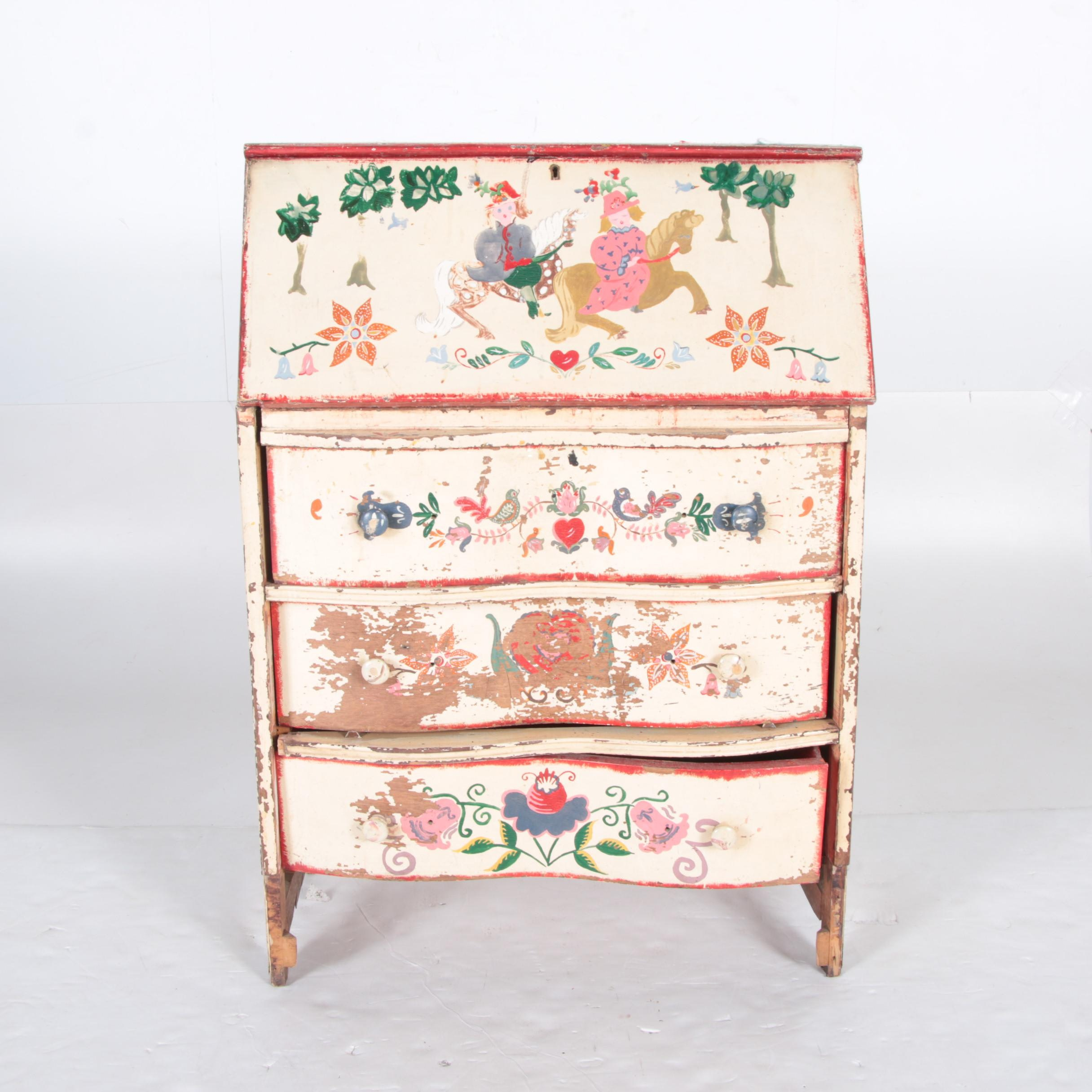 Folk Art Painted Fall-Front Cabinet