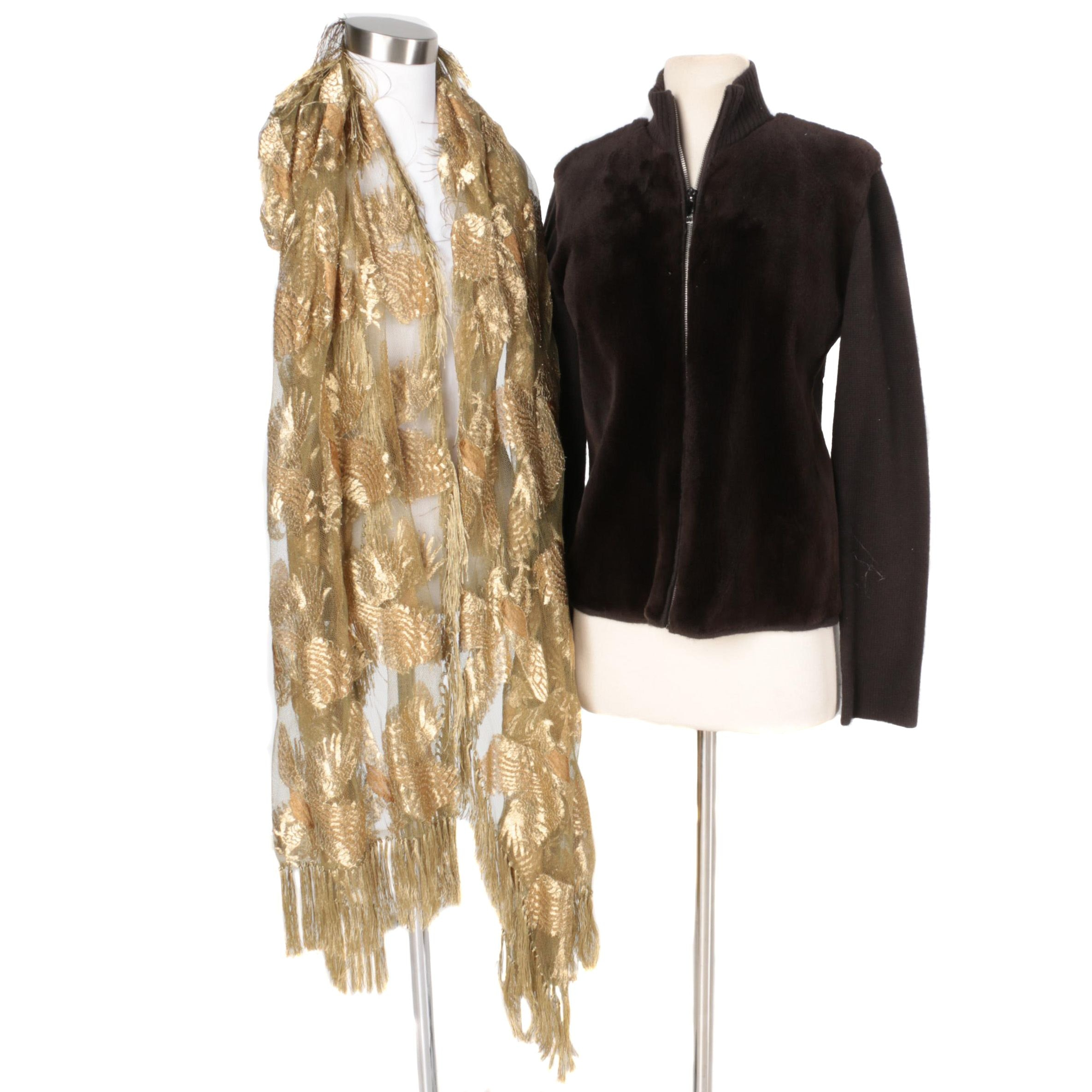TSE Knit and Mink Fur Sweater and Gold Scarf Wrap