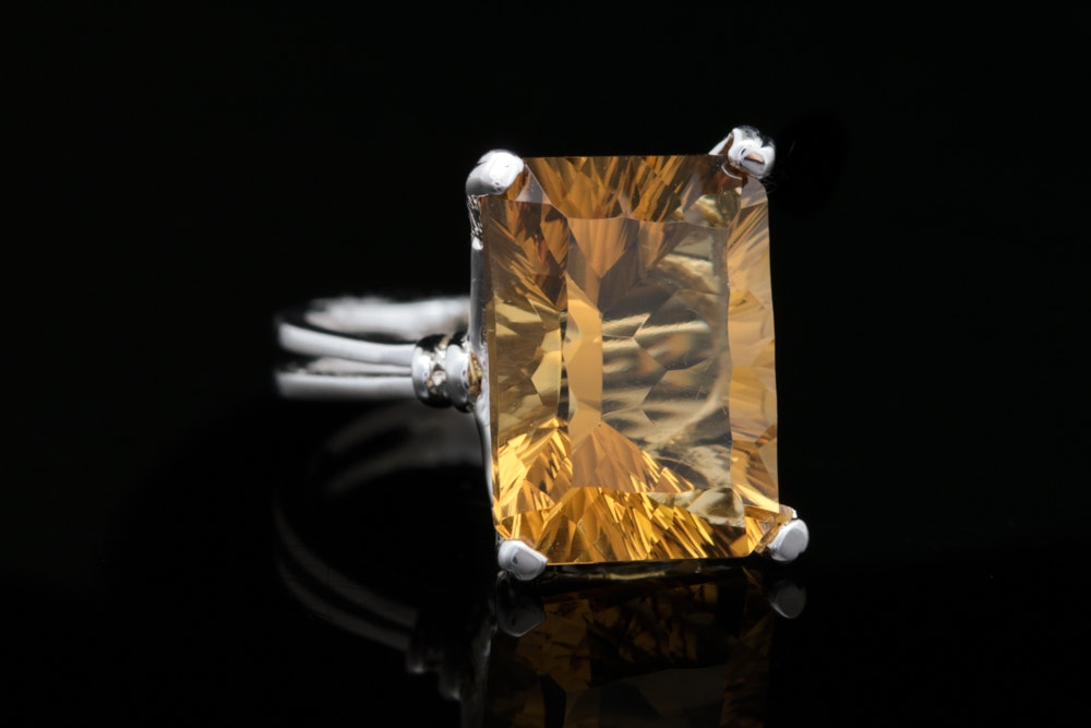 Sterling Silver and Whiskey Quartz Ring