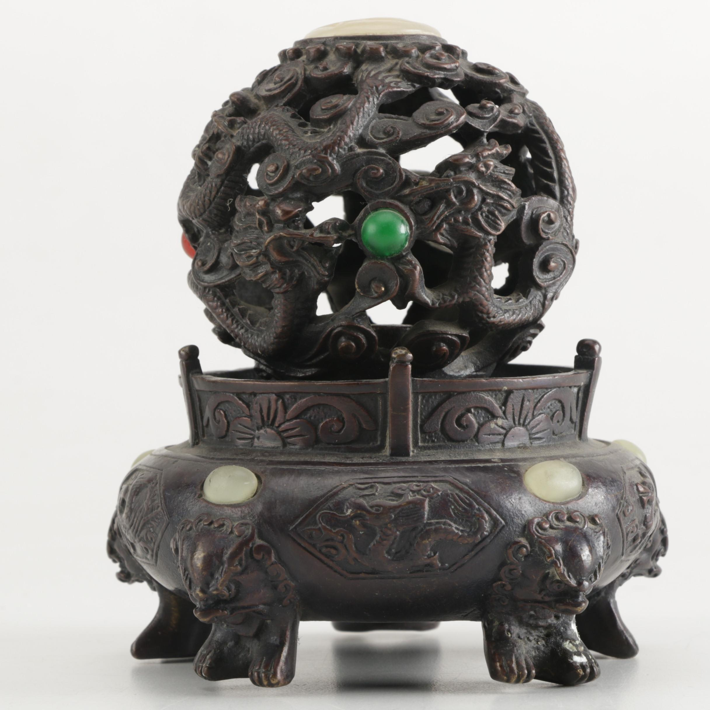 Chinese Cast Metal Dragon Motif Censer