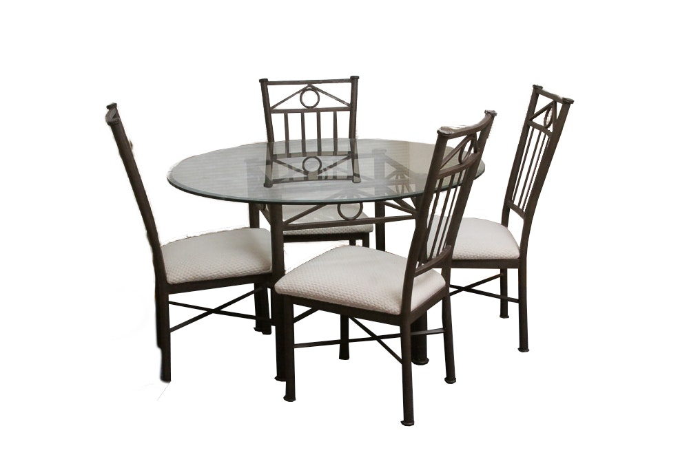 Round Metal and Glass Dining Table with Chairs