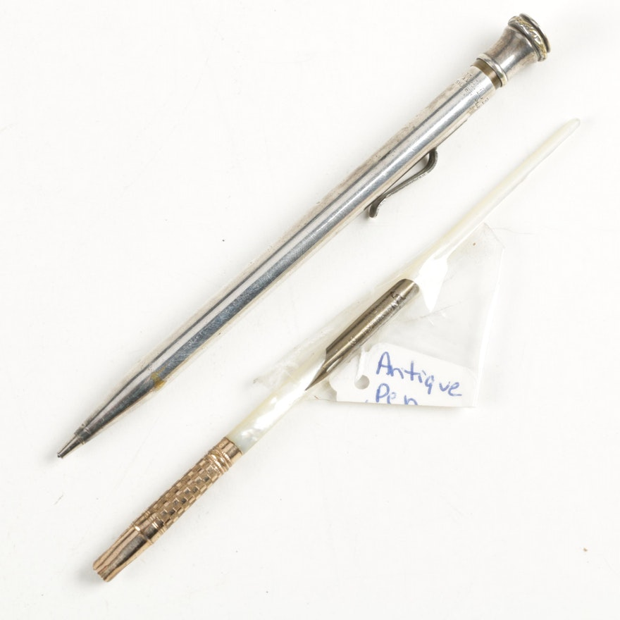 Vintage Wahl Eversharp Pencil and Antique Mother of Pearl Dip Pen ...