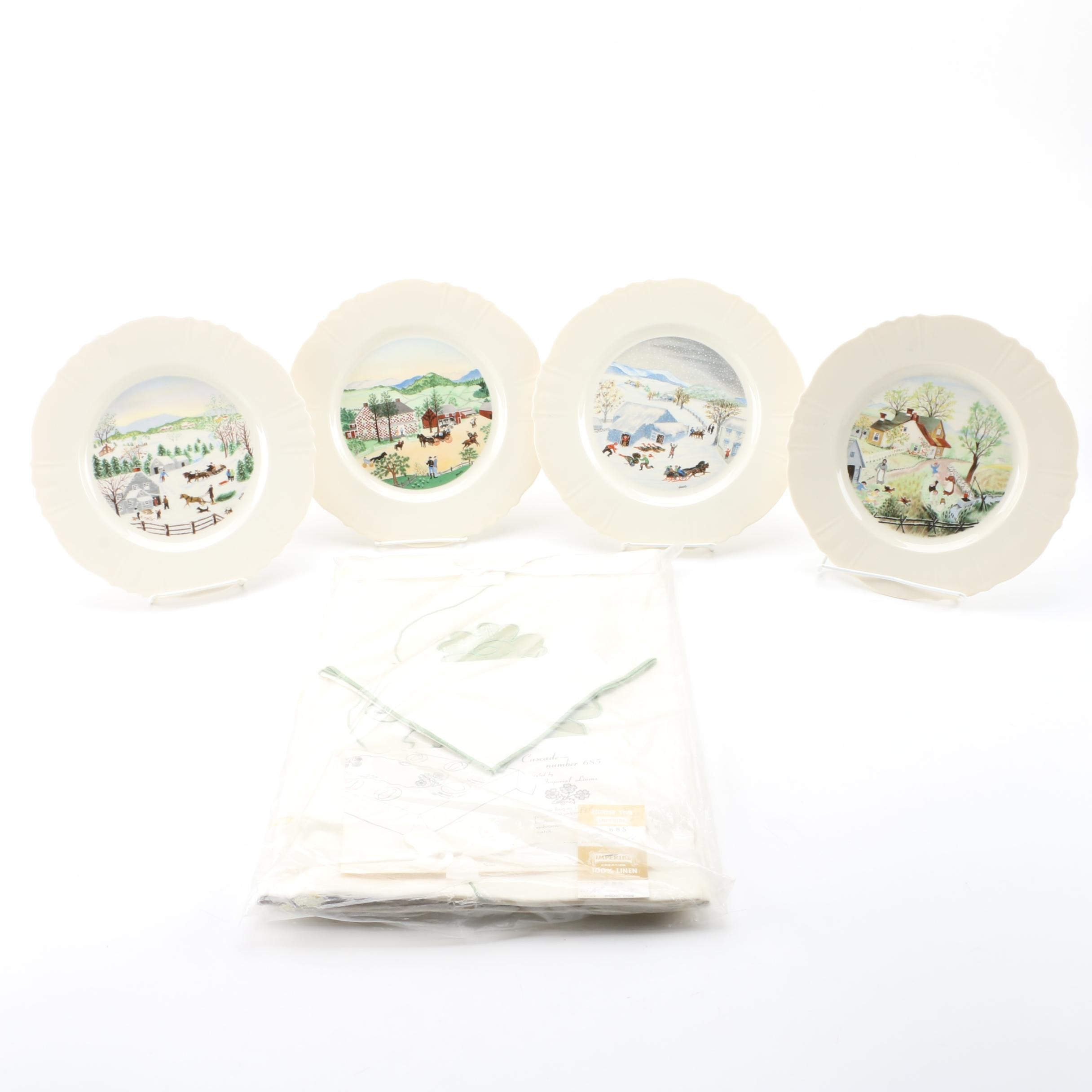 Vintage Limited Edition Collectible Grandma Moses Plates and Tablecloth