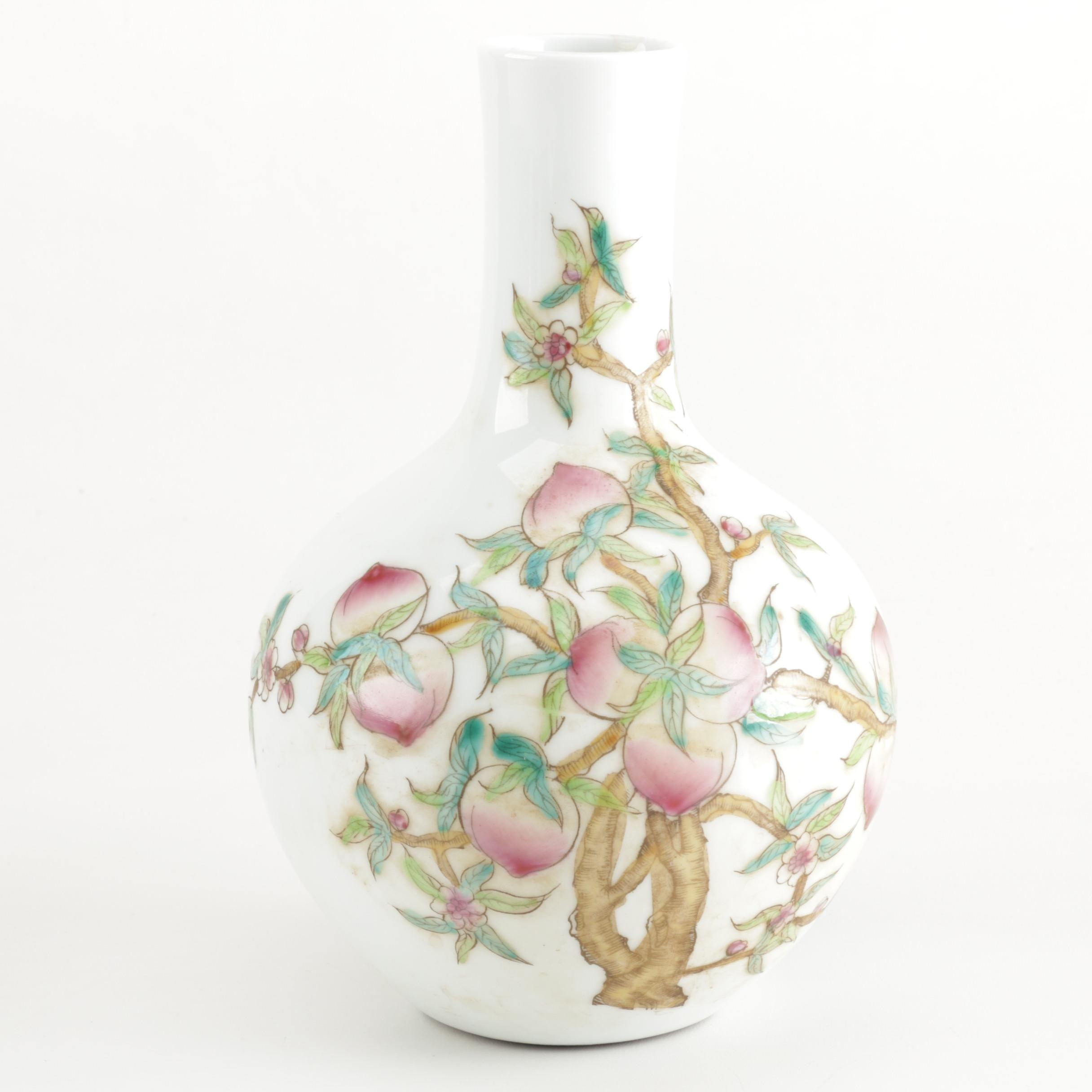 Chinese Porcelain Vase Decorated with a Peach Tree