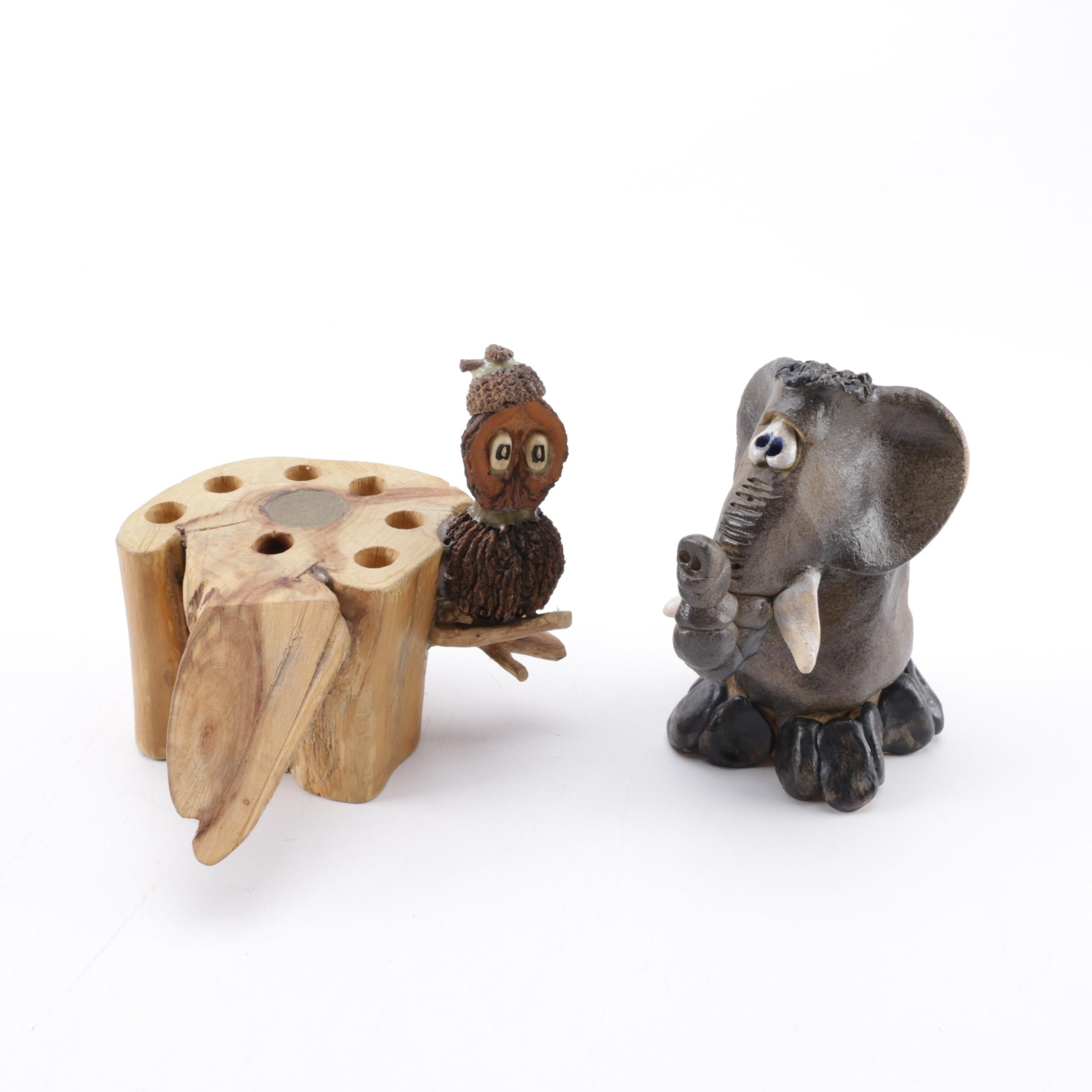 Vintage Shep Pottery Elephant and Owl Figurines
