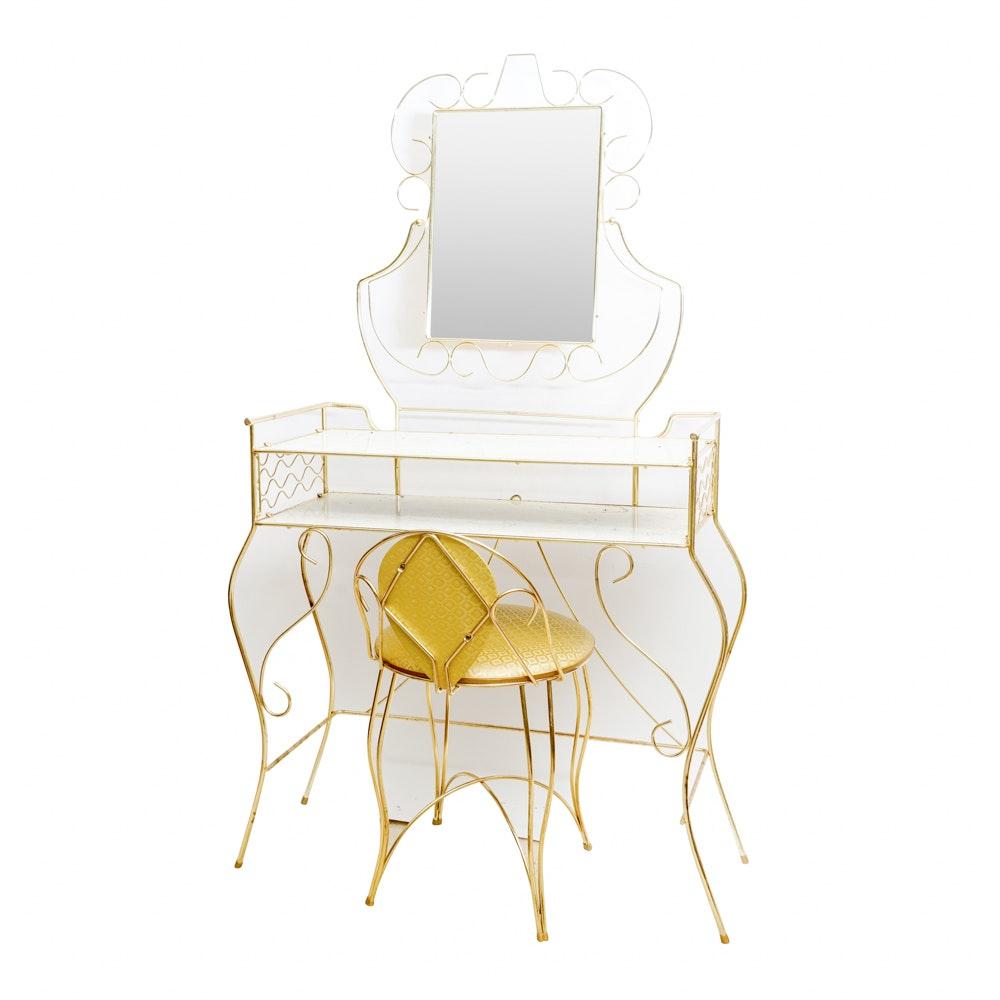 Vintage Hollywood Regency Style Vanity, Mirror, and Chair