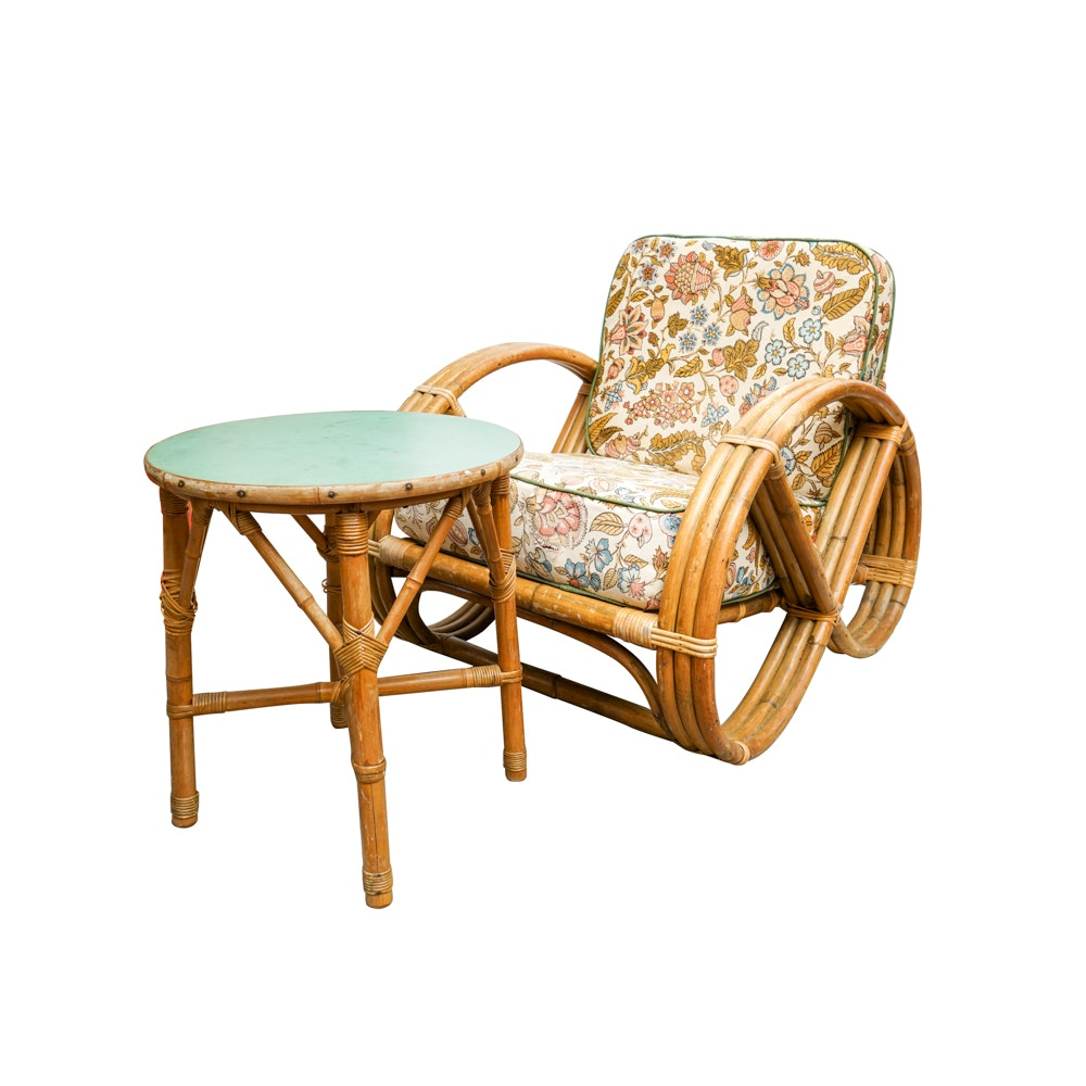 """Bamboo & Rattan """"Pretzel"""" Style Chair & Side Table"""