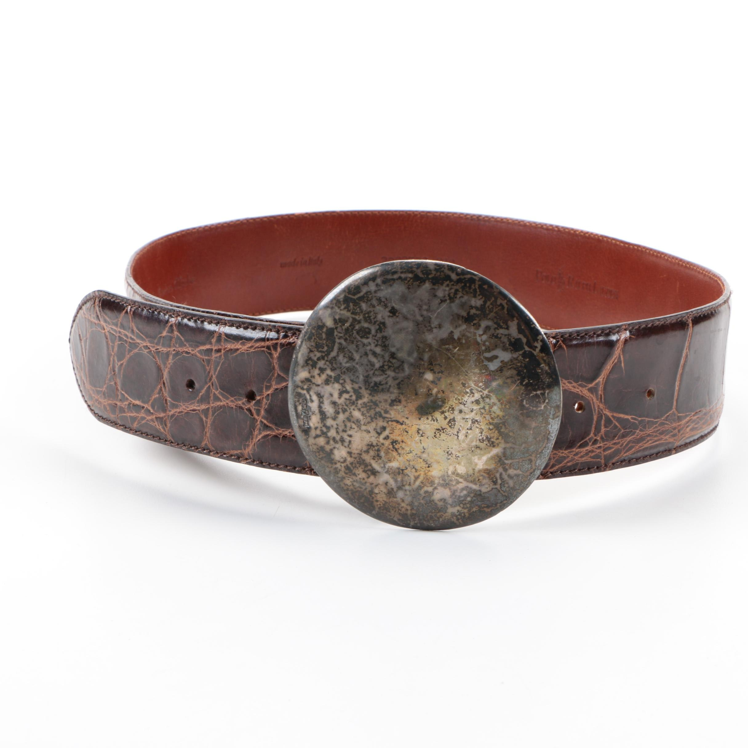 Polo Ralph Lauren Sterling Silver and Alligator Leather Belt