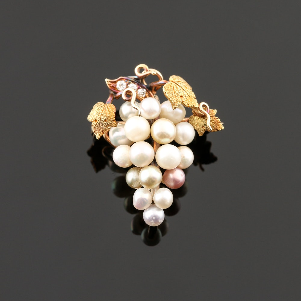 Belle Epoque 14K Yellow Gold Cultured Pearl Grape Cluster Brooch