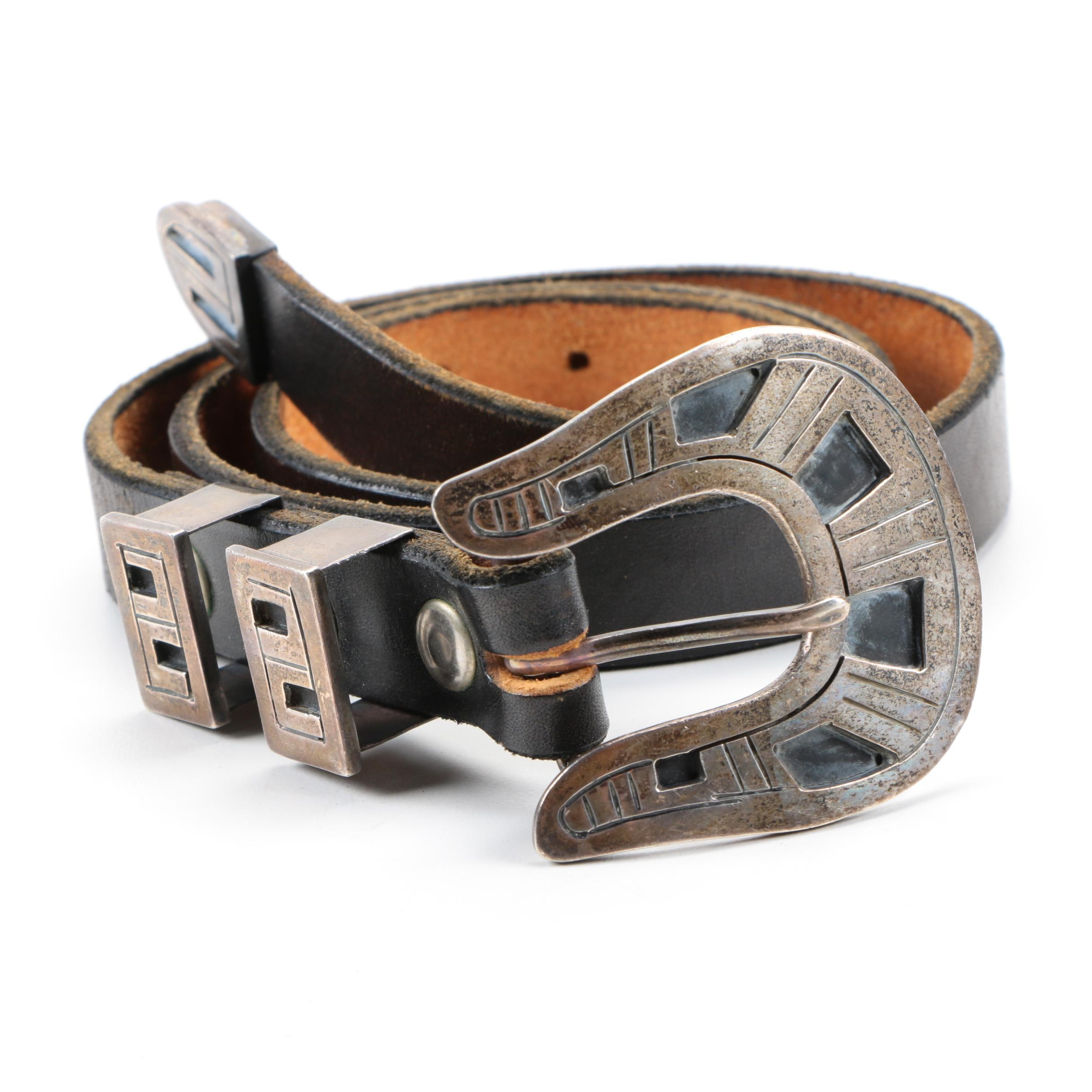Mexican Sterling Silver and Leather Belt
