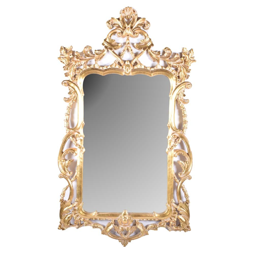 Ornate Baroque Style Gold Tone Wall Mirror