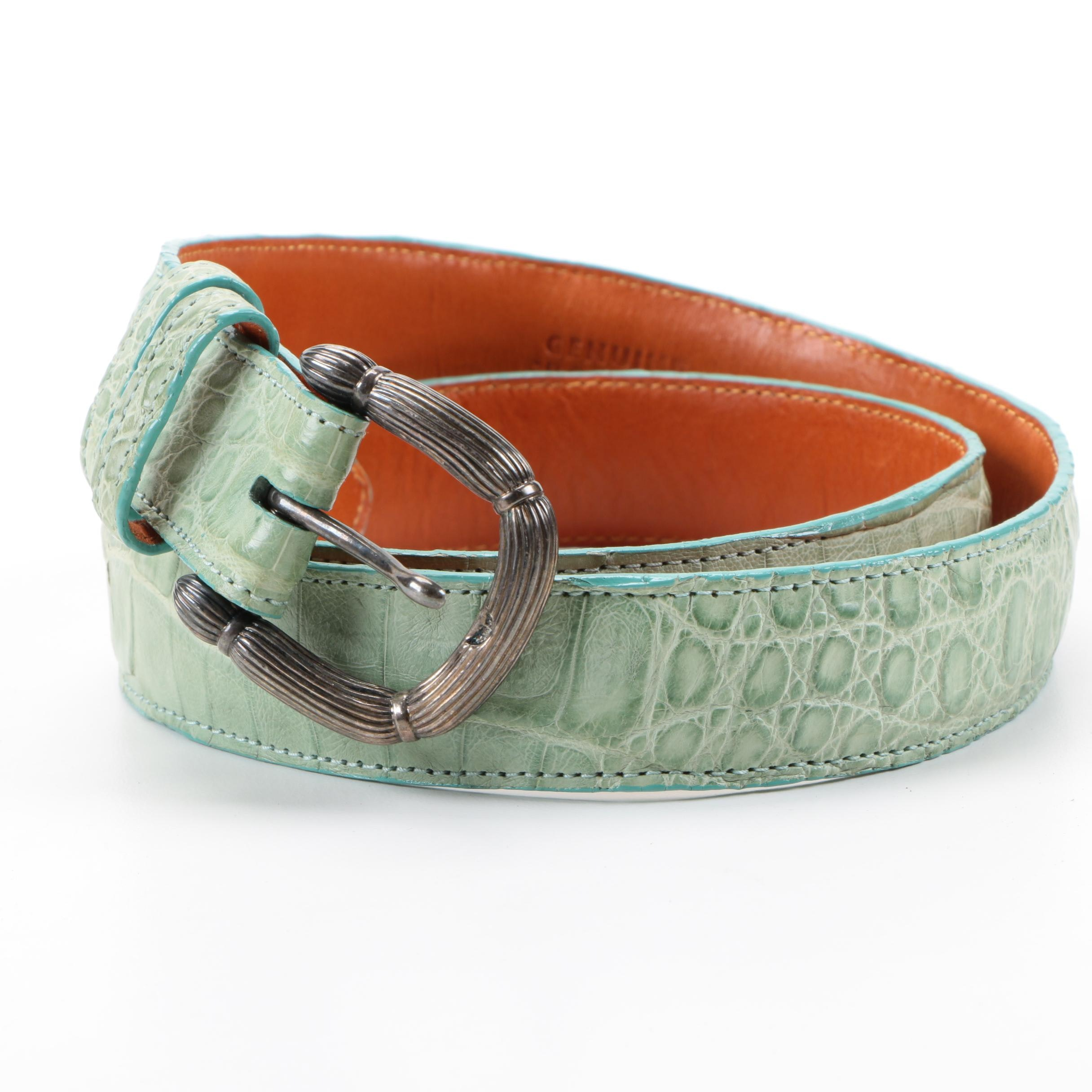 LAI Sterling Silver and Crocodile Leather Belt