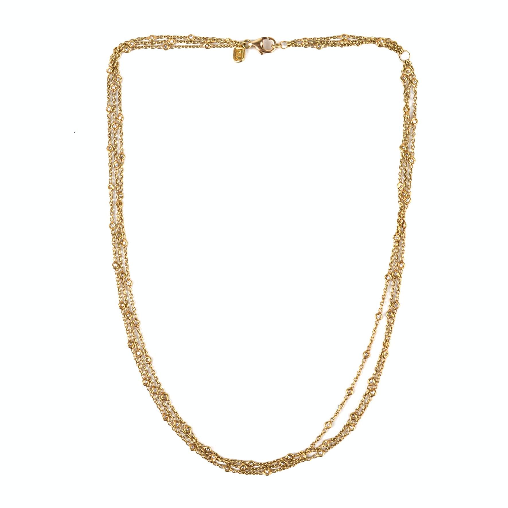 18K Yellow Gold 1.17 CTW Diamond Station Multi-Strand Necklace