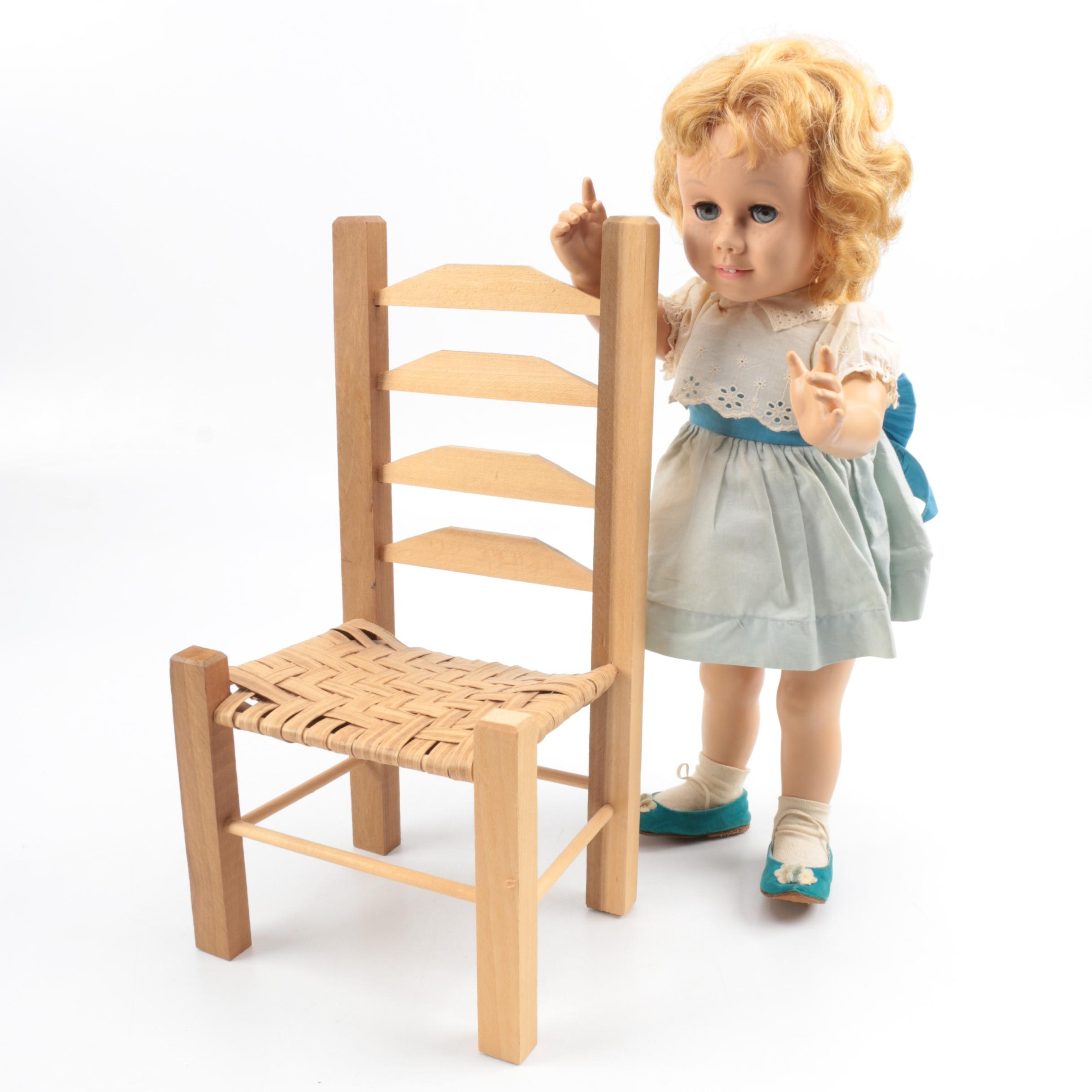 "1960s Mattel ""Chatty Cathy"" Doll with Wooden Doll Chair"