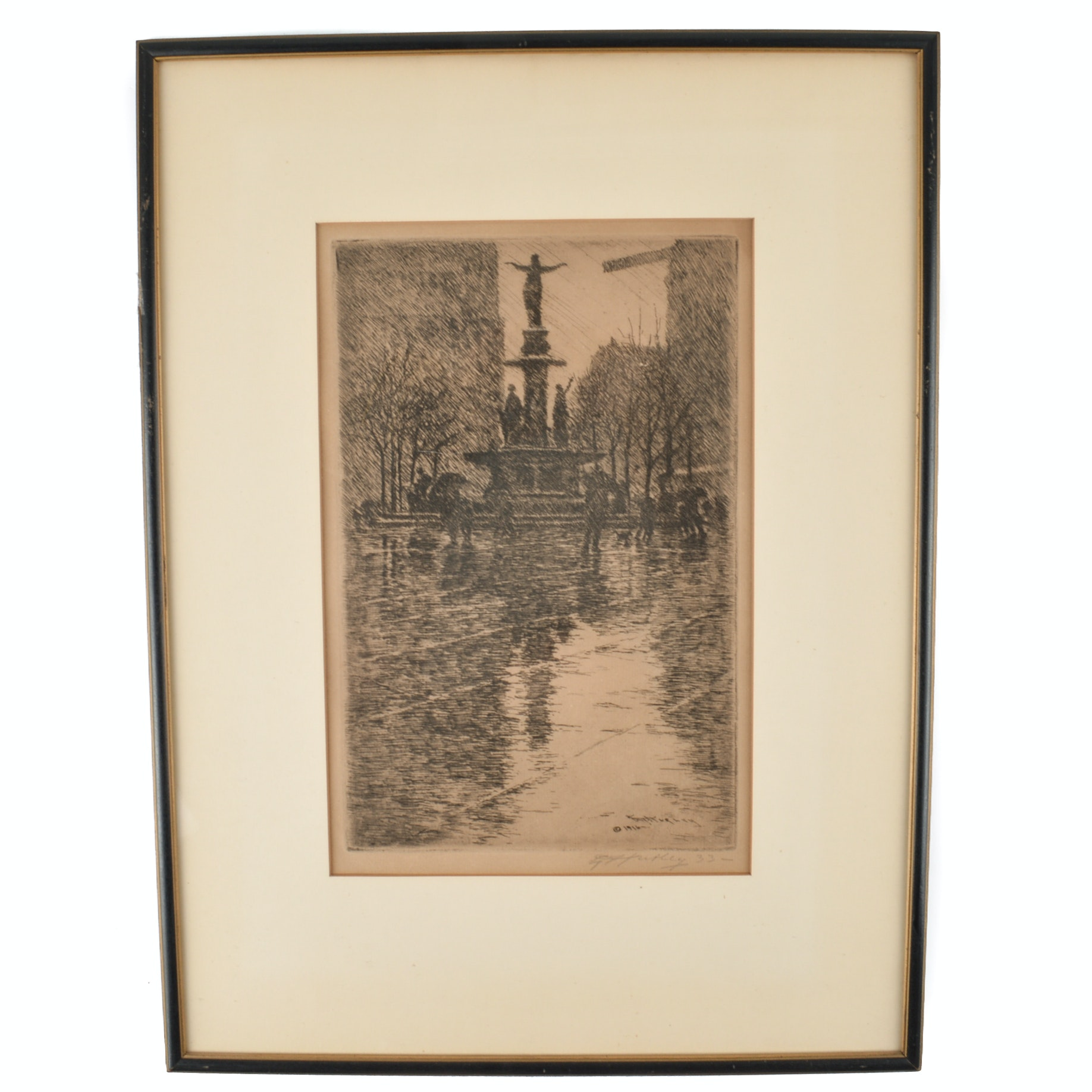 """Edward Hurley Etching on Paper """"Fountain in the Rain"""""""
